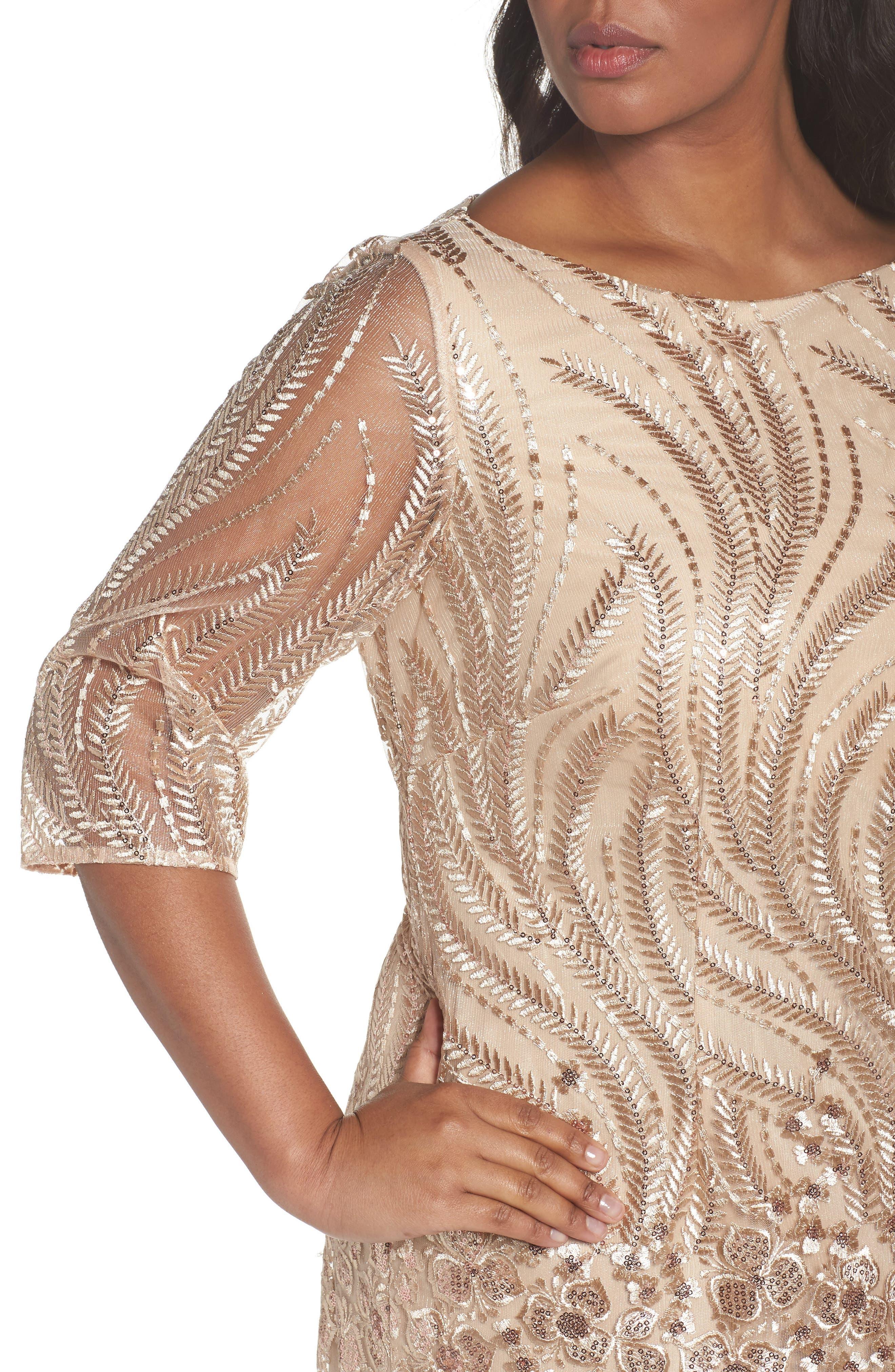 Embellished Sheath Dress,                             Alternate thumbnail 4, color,                             Champagne
