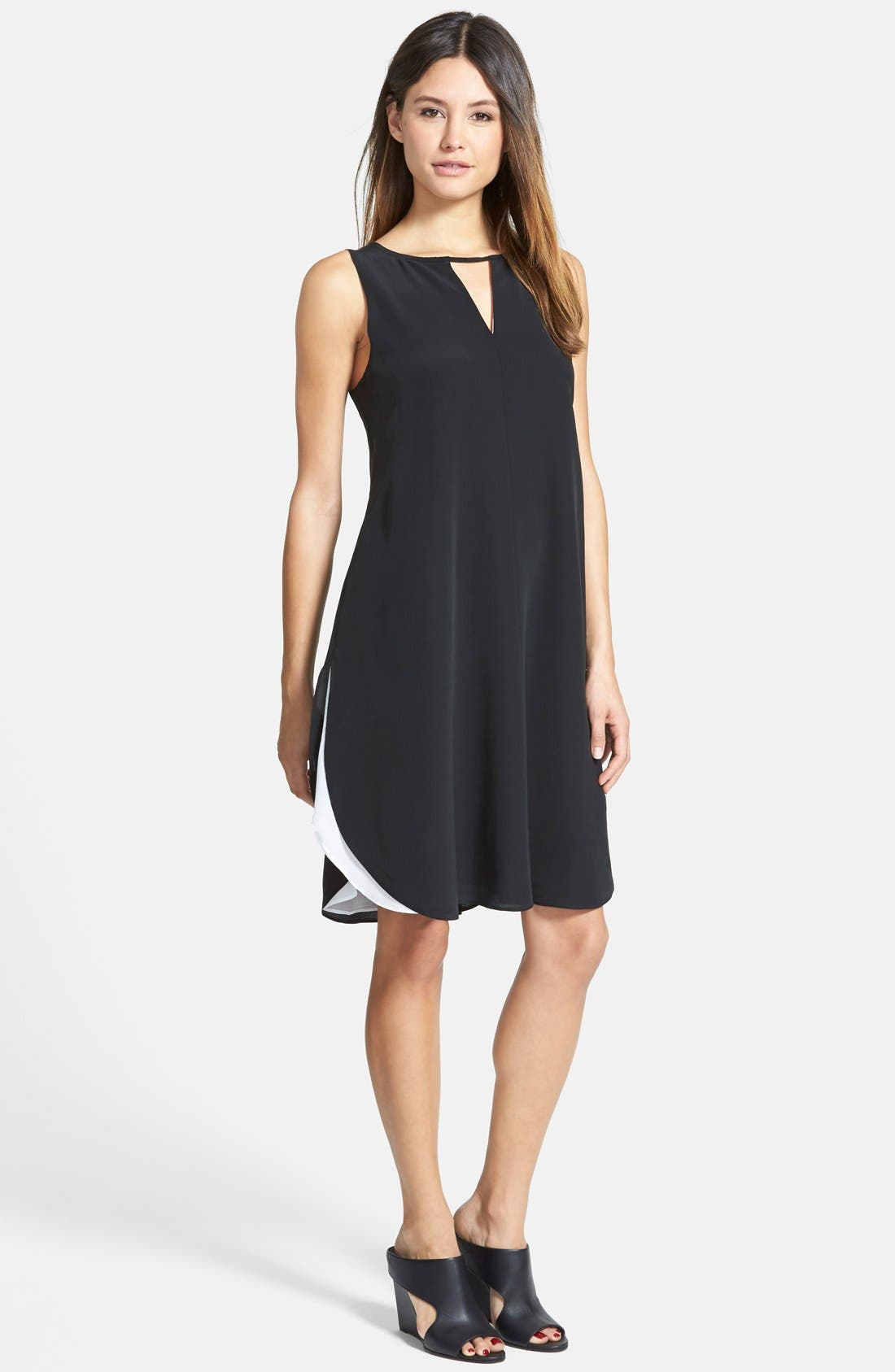 Main Image - Eileen Fisher Keyhole Detail Double Layer Silk Shift Dress (Regular & Petite)