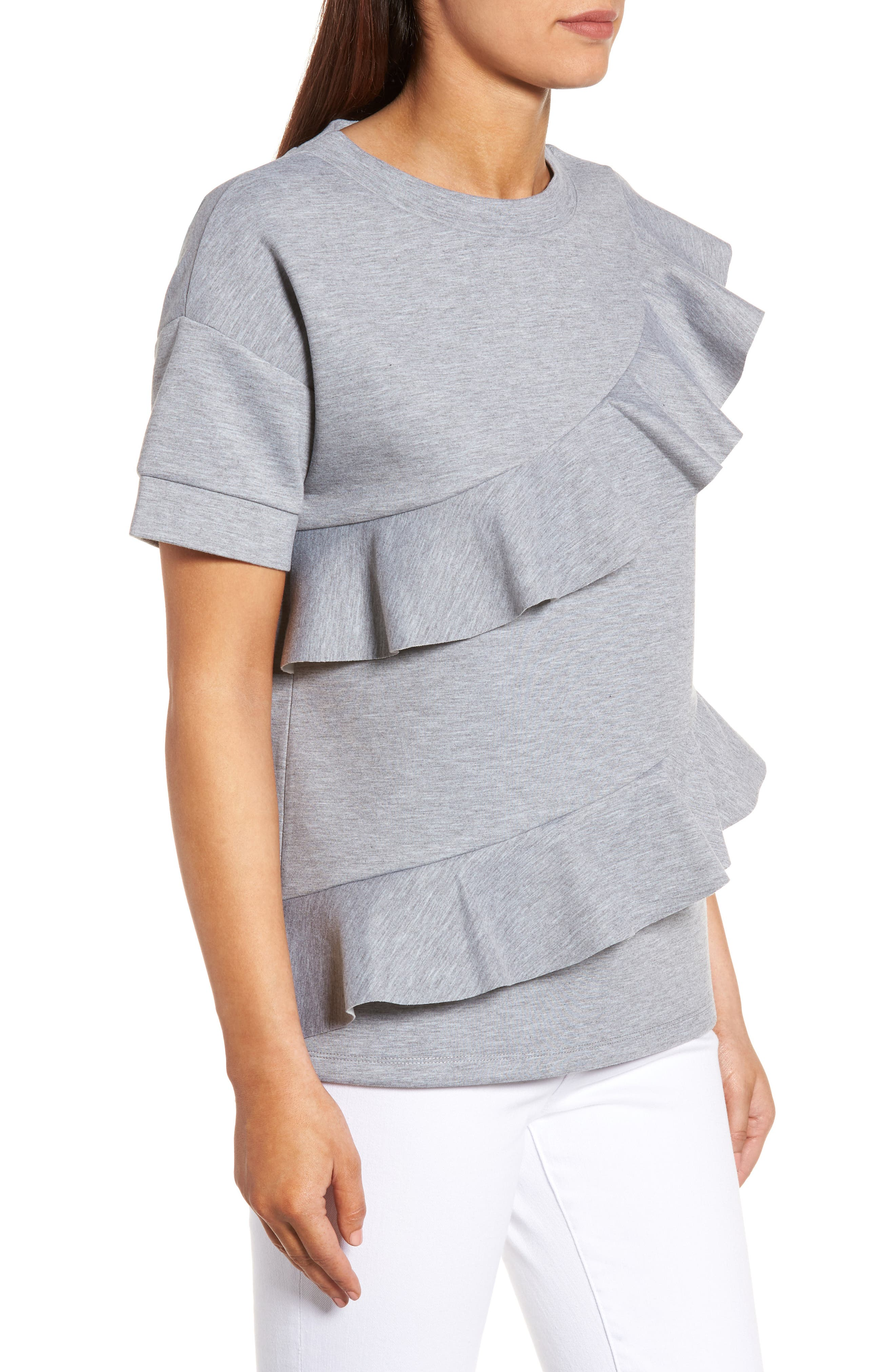 Alternate Image 3  - Halogen® Ruffle Front Neopene Sweatshirt (Regular & Petite)
