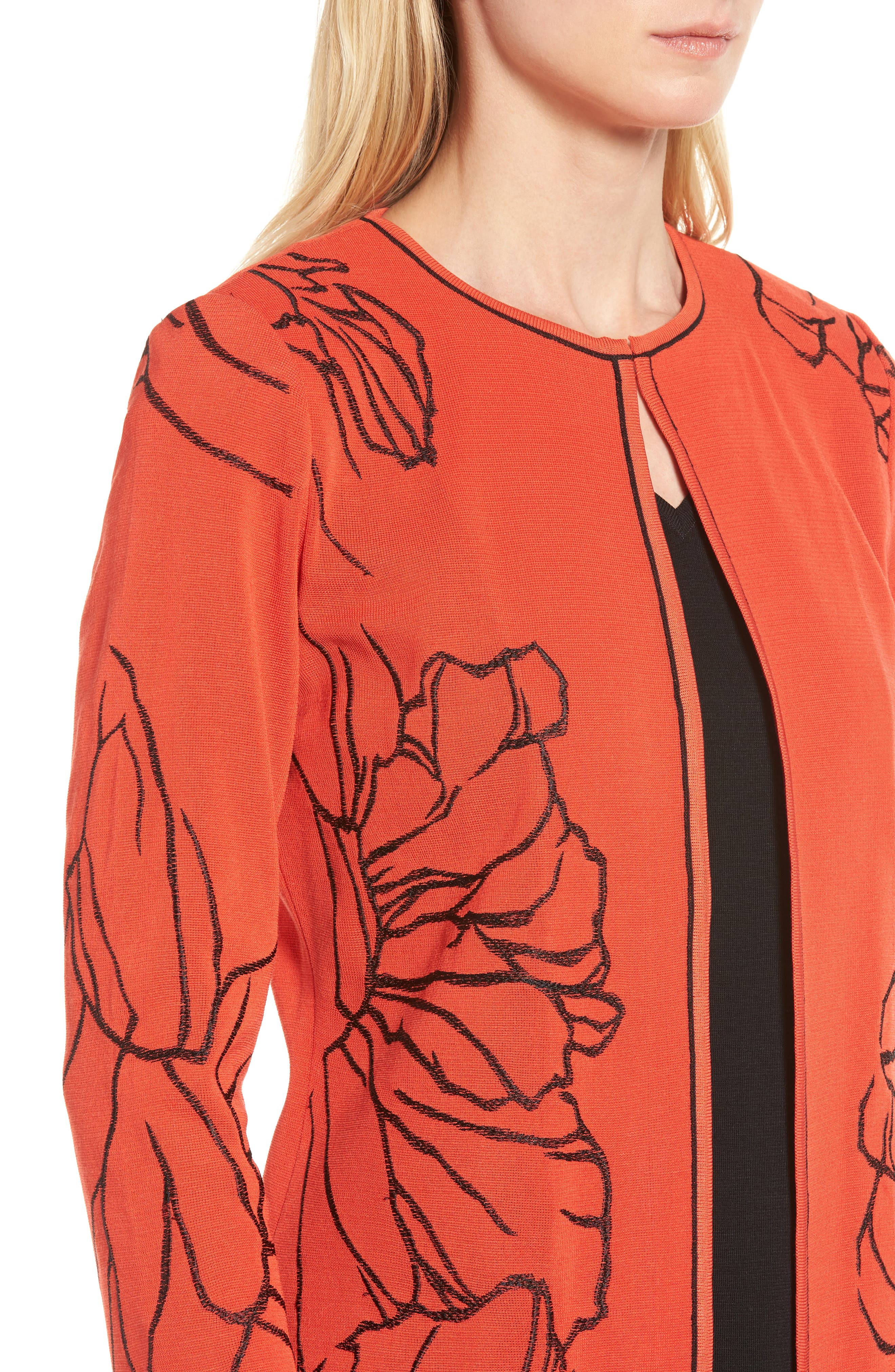 Embroidered Knit Jacket,                             Alternate thumbnail 4, color,                             Flame/ Black