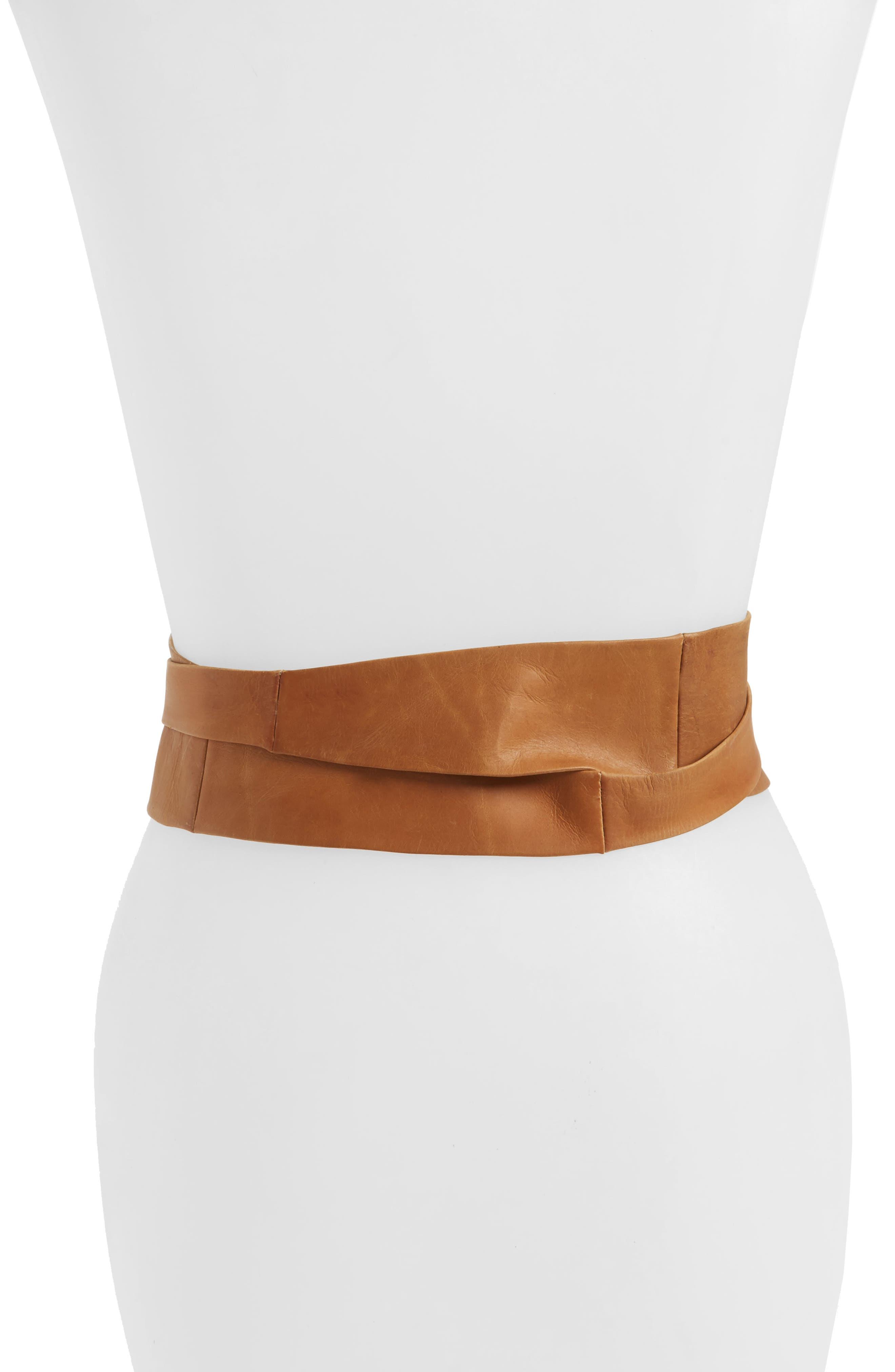 Handmade Leather Wrap Belt,                             Alternate thumbnail 2, color,                             Tan