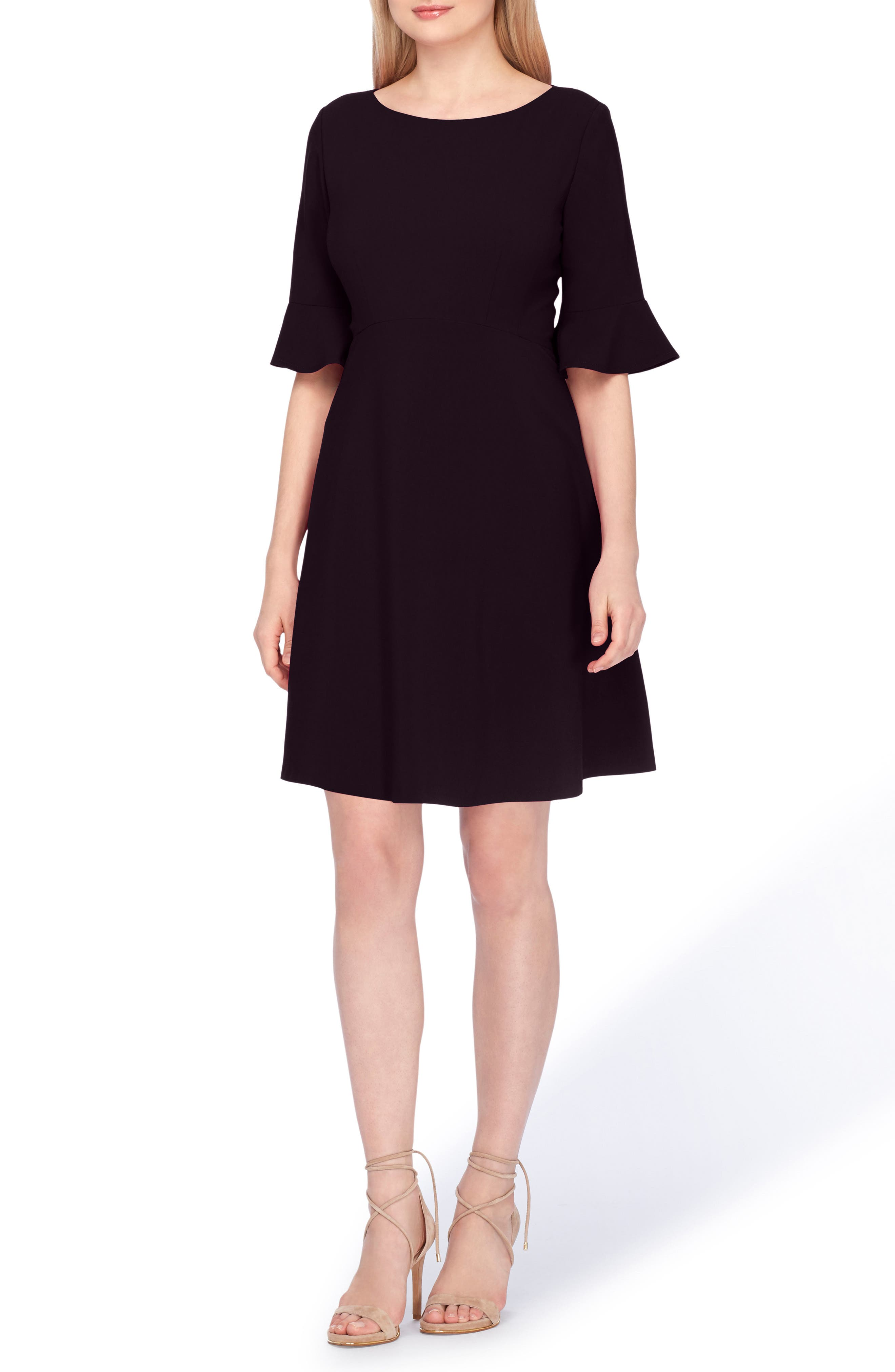 TAHARI Ruffle Sleeve A-Line Dress