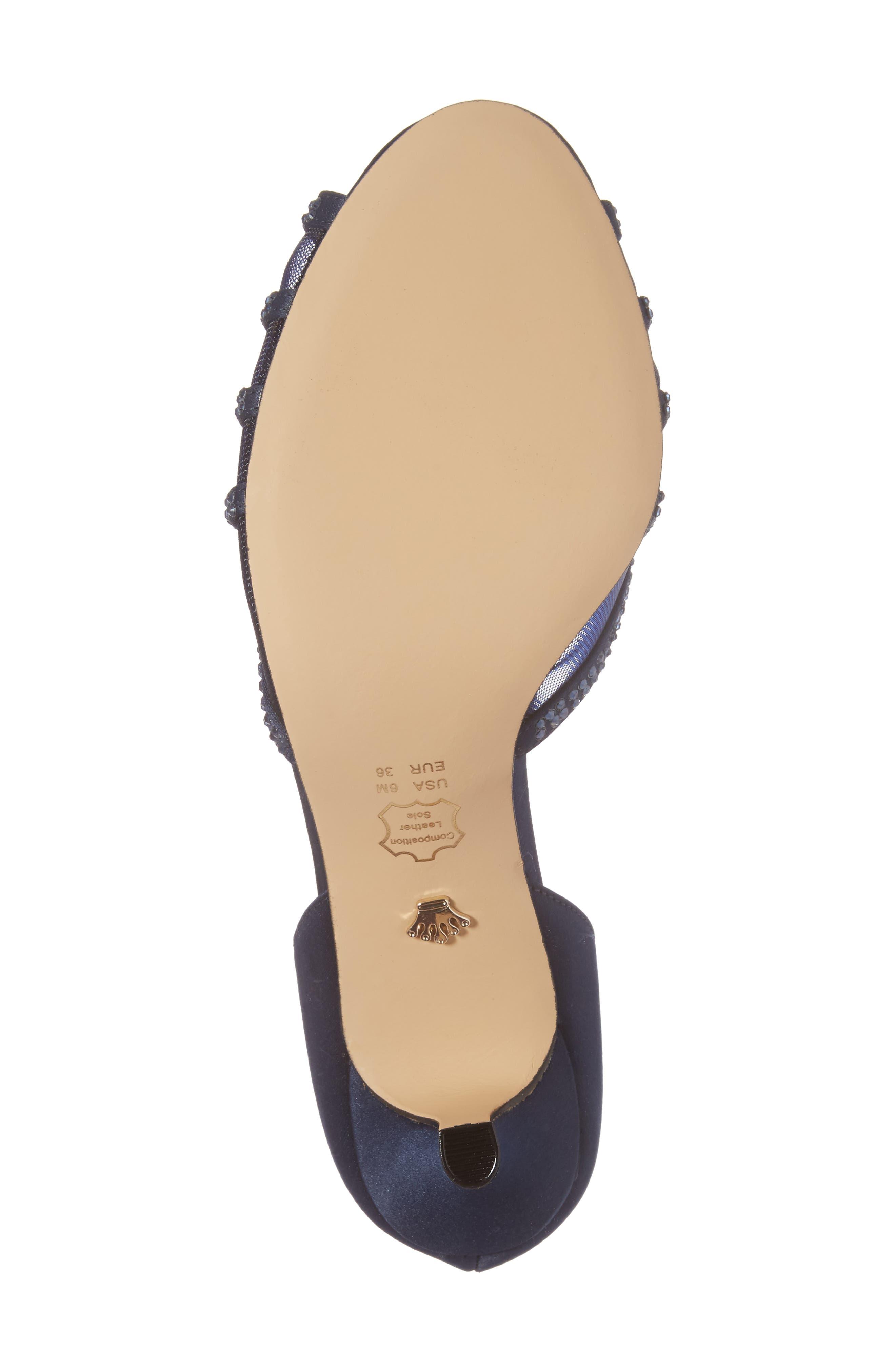 Corita Embellished Mesh Sandal,                             Alternate thumbnail 6, color,                             Blue Satin