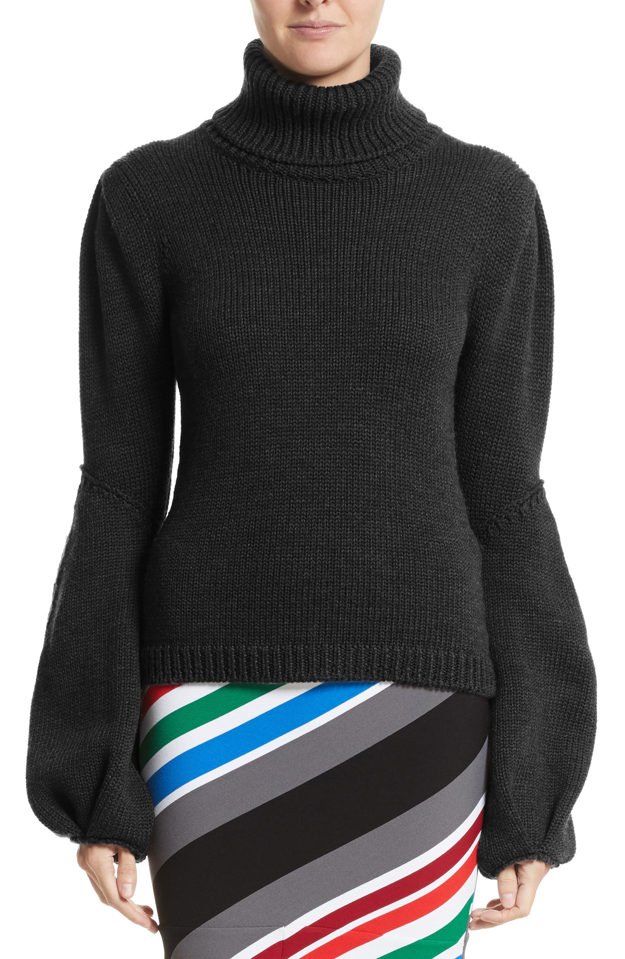 Oscar de la Renta Wool Bell Sleeve Turtleneck Sweater