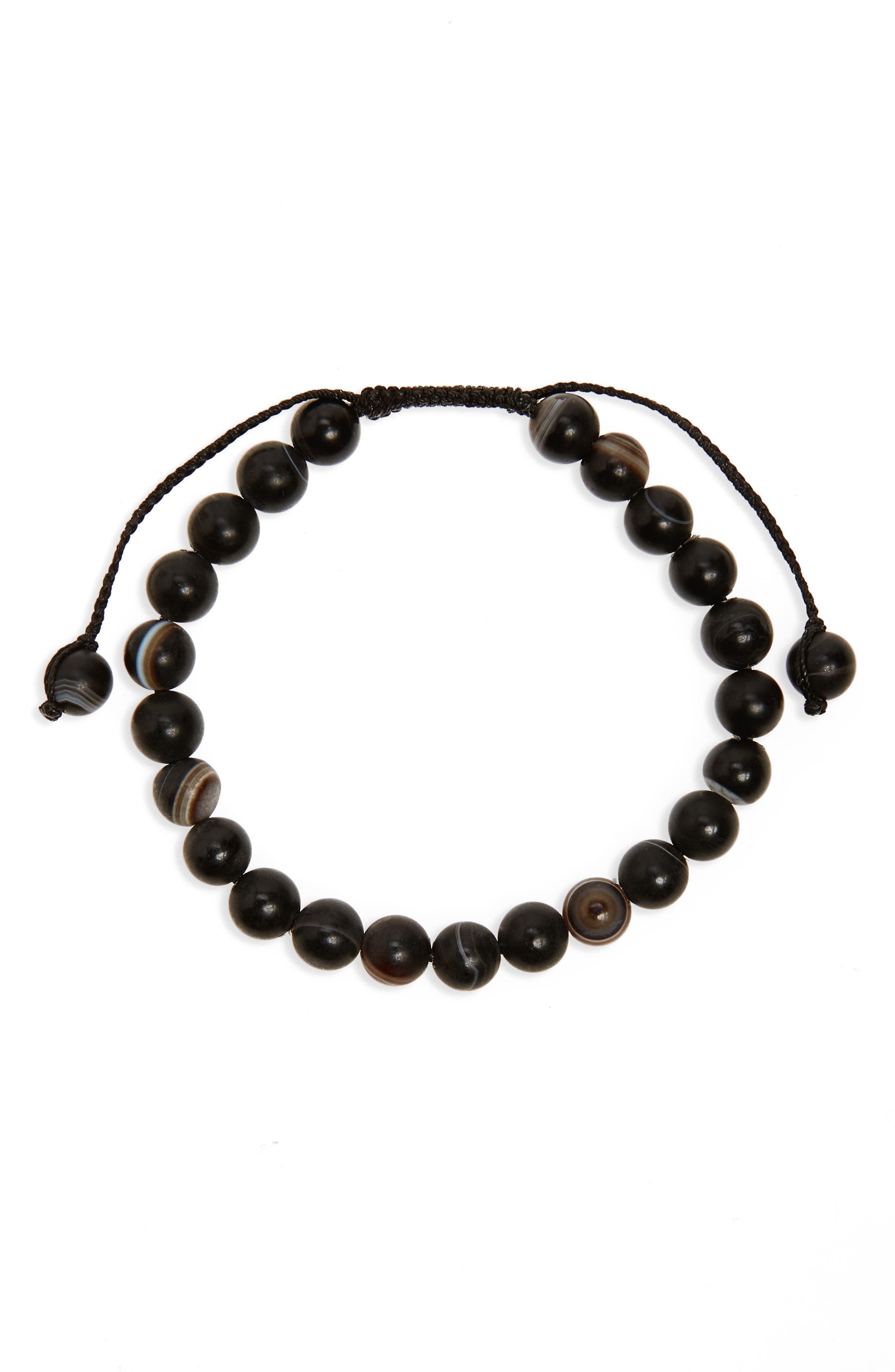 Agate Bead Bracelet,                             Main thumbnail 1, color,                             Black