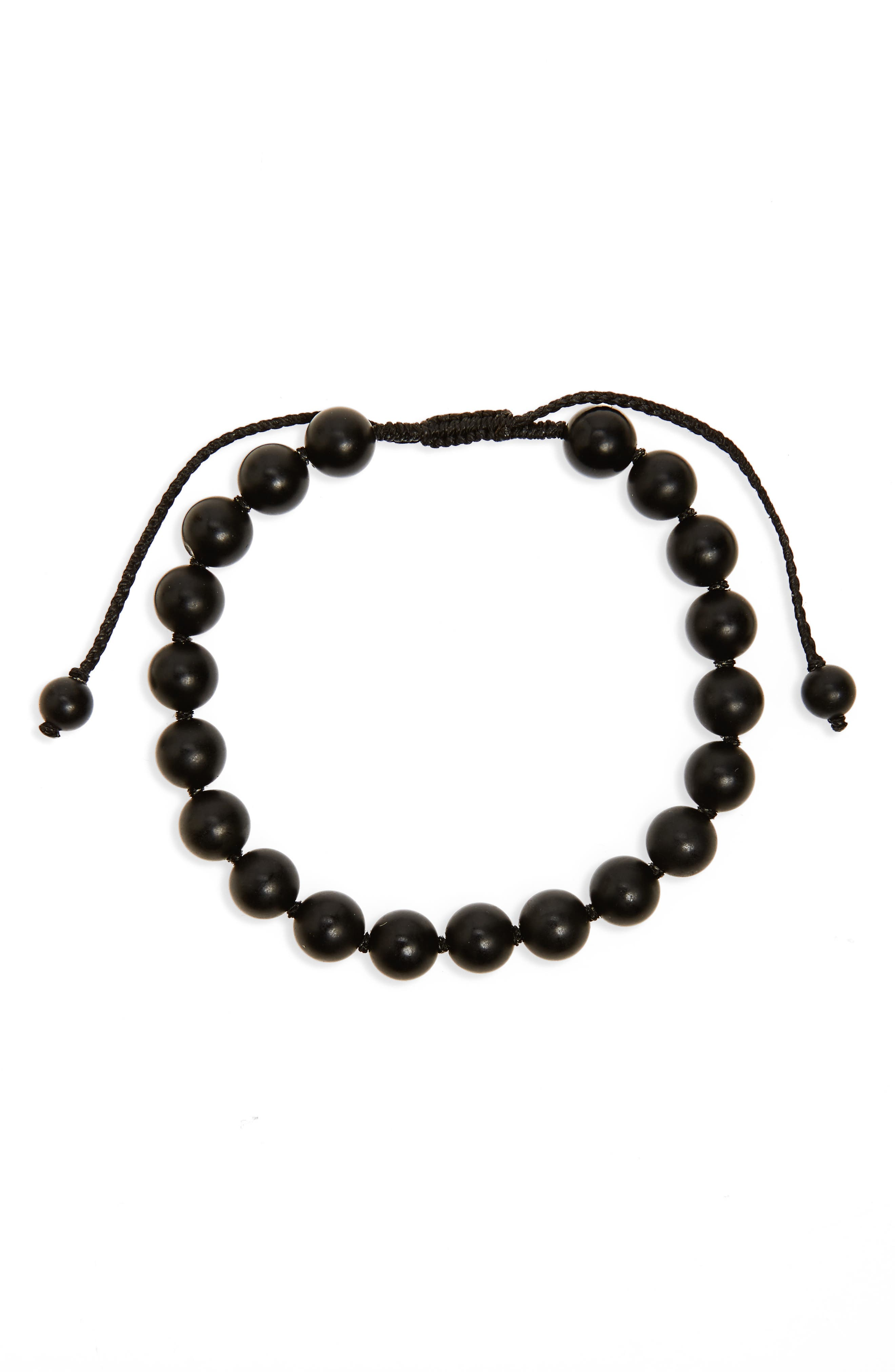 Onyx Bead Bracelet,                             Main thumbnail 1, color,                             Black