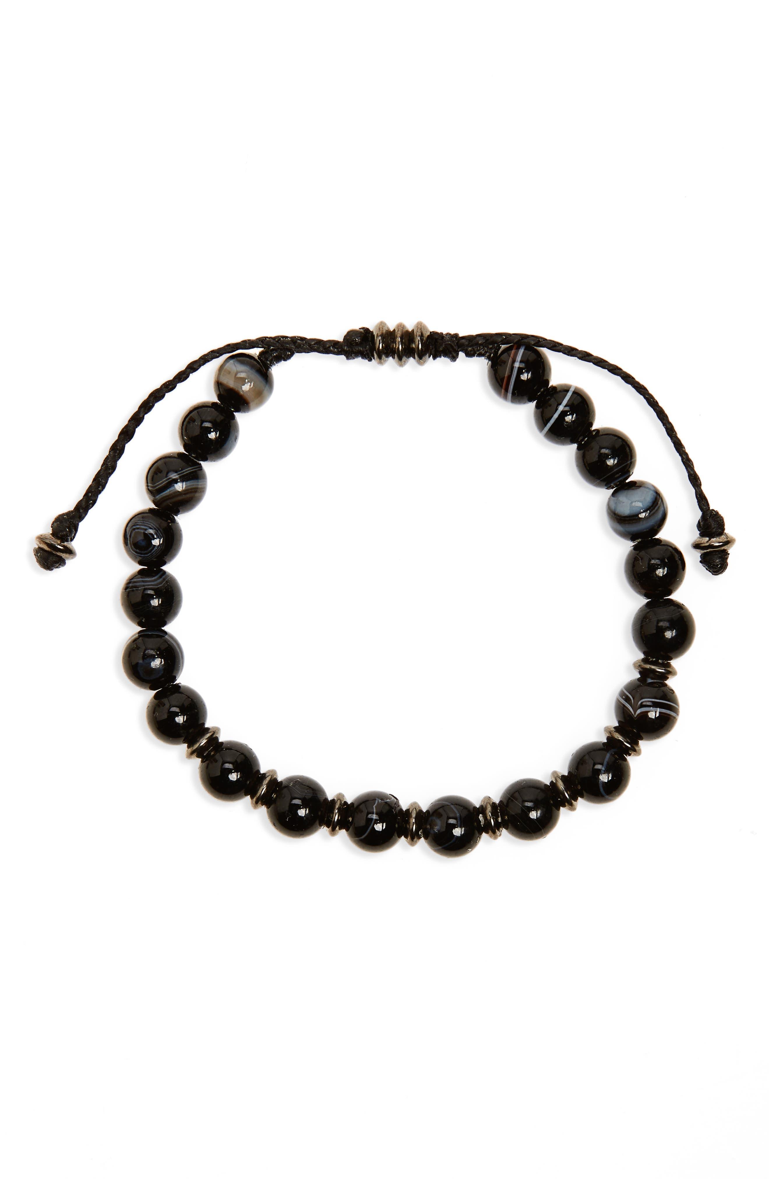 Agate Bead Bracelet,                         Main,                         color, Black