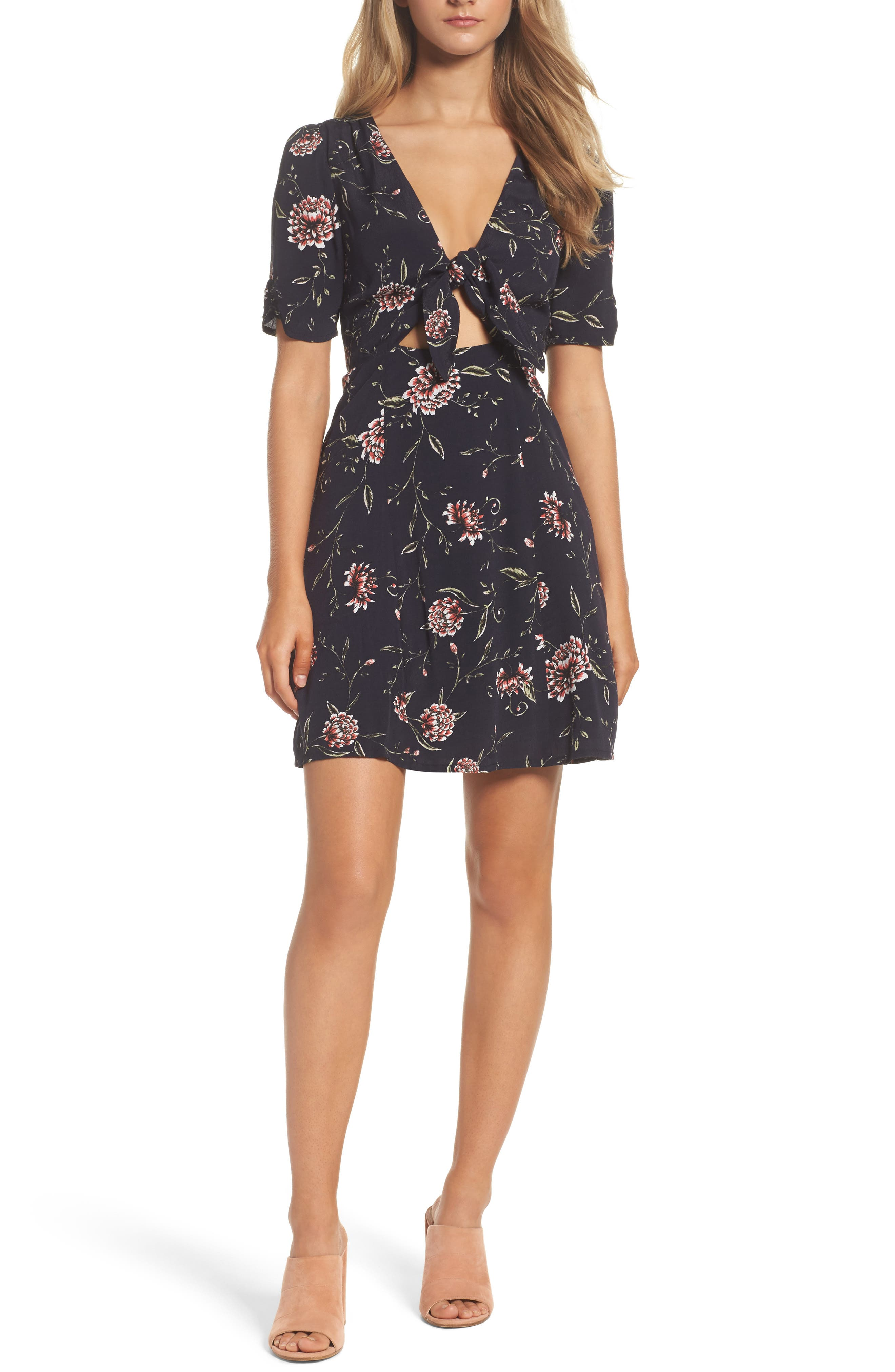 Main Image - Bardot Tie Front Floral Dress