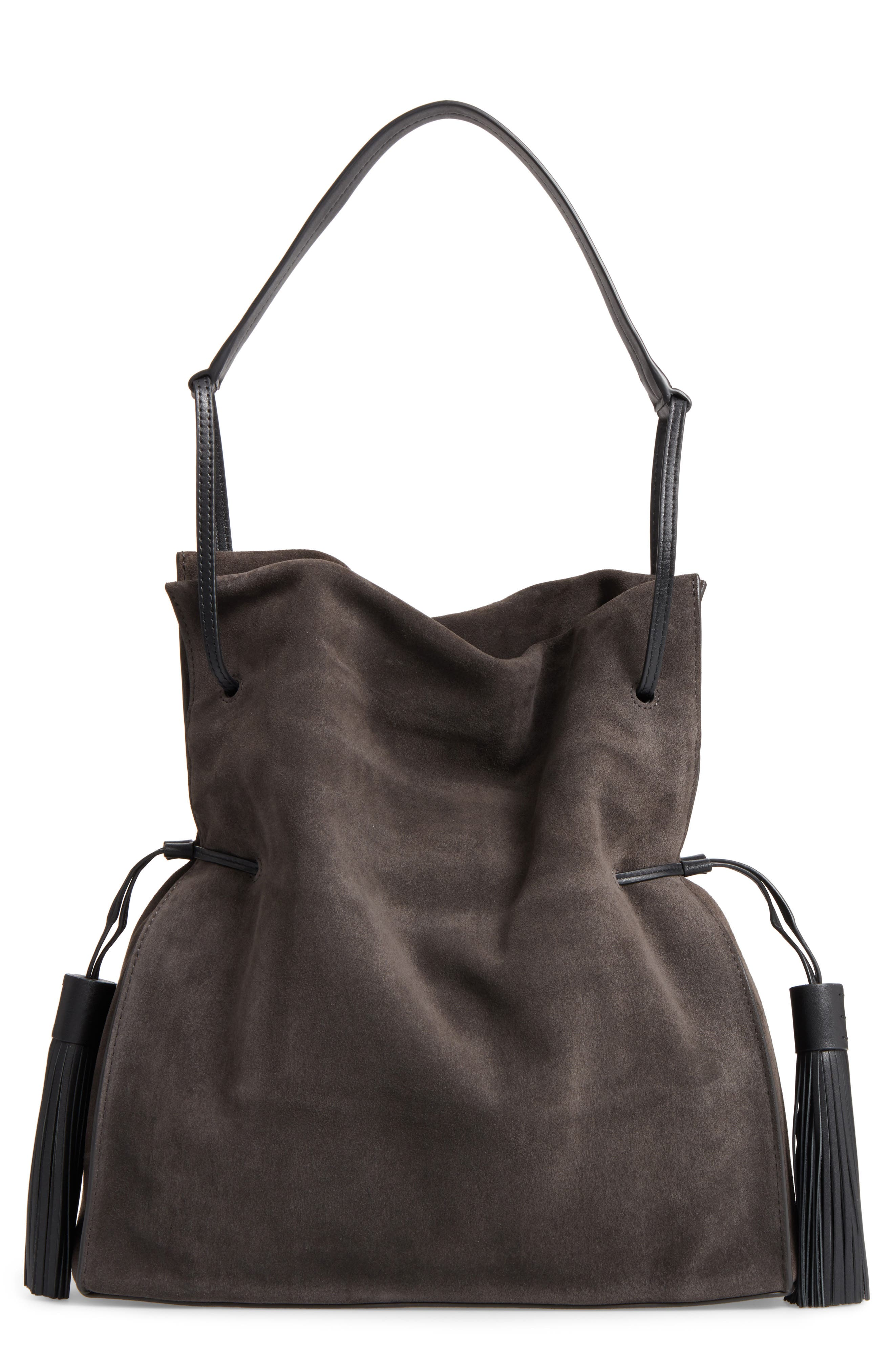 'Freedom' Suede Hobo,                         Main,                         color, Graphite Grey