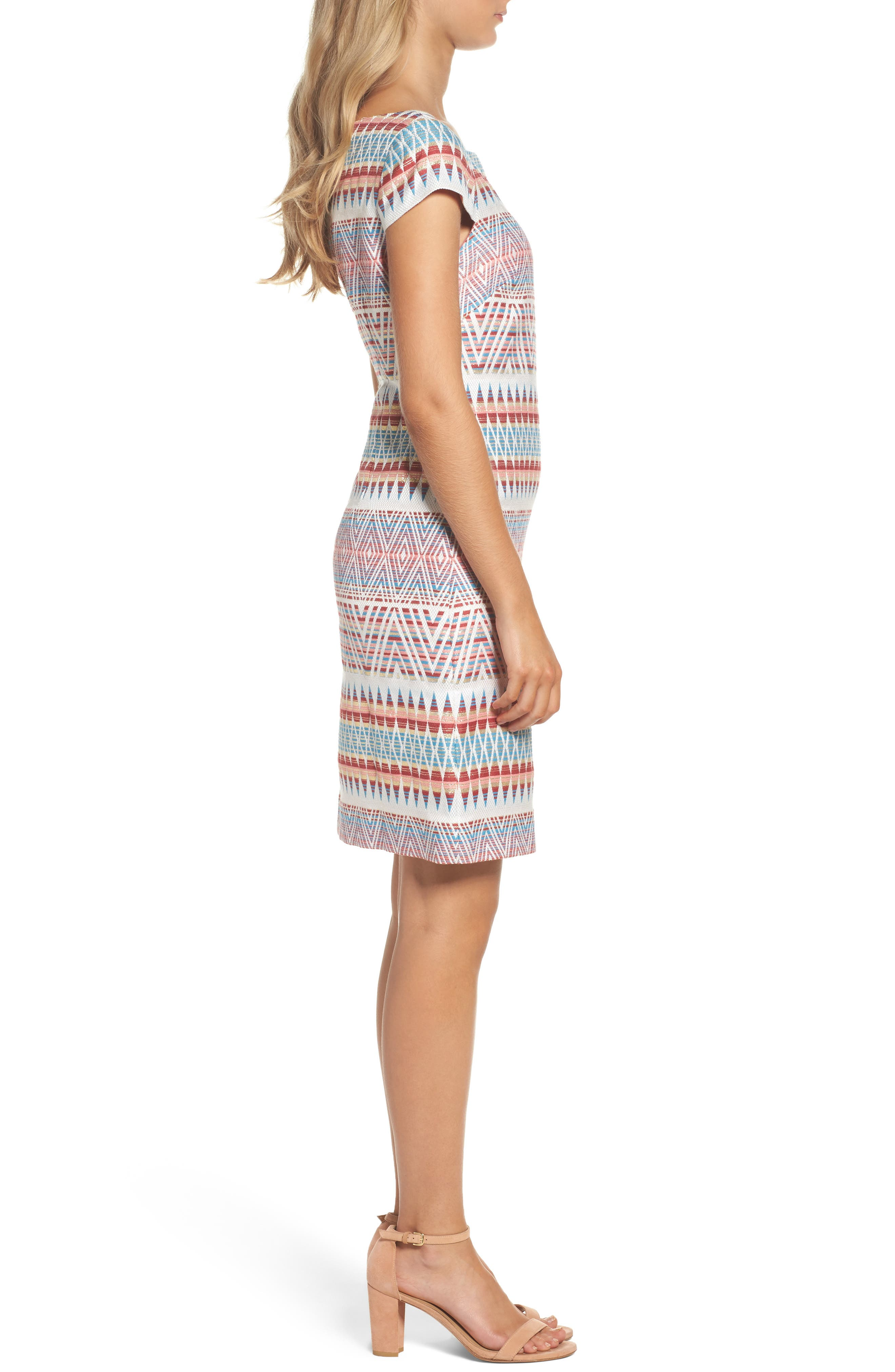 Jacquard Sheath Dress,                             Alternate thumbnail 3, color,                             Coral Multi