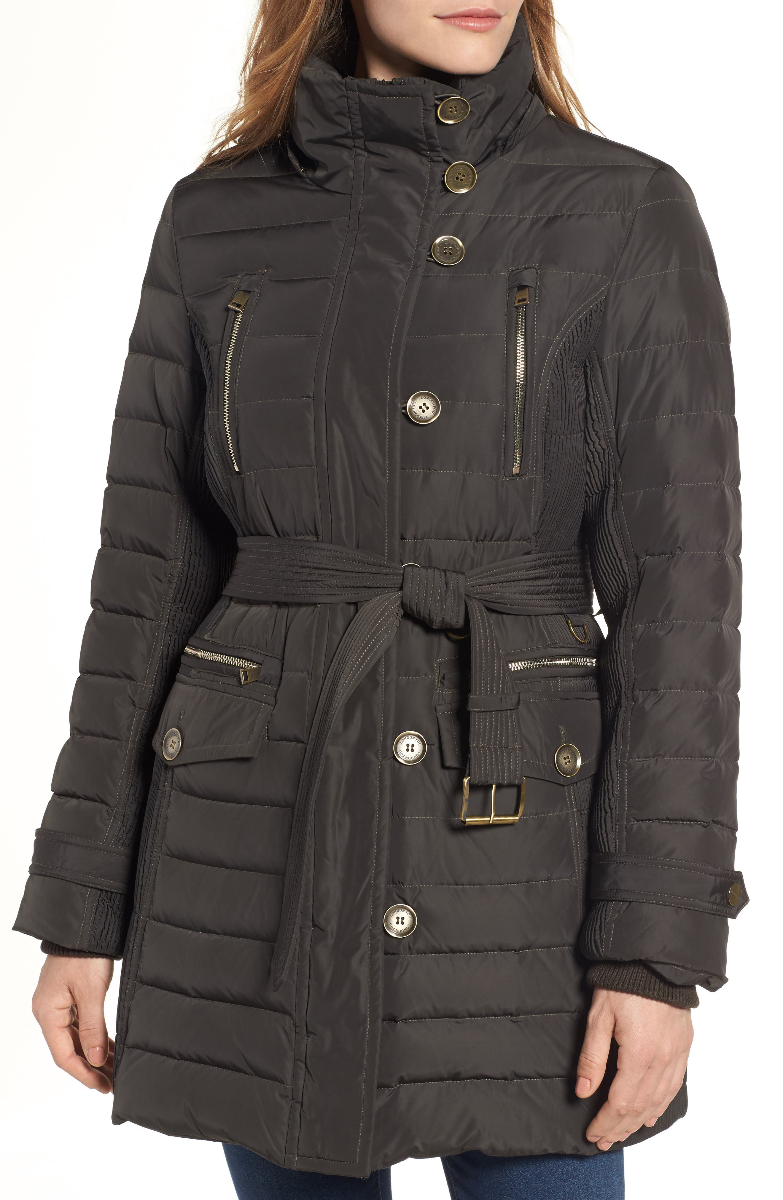 Belted Down Coat with Faux Fur Trim,                             Alternate thumbnail 4, color,                             Army