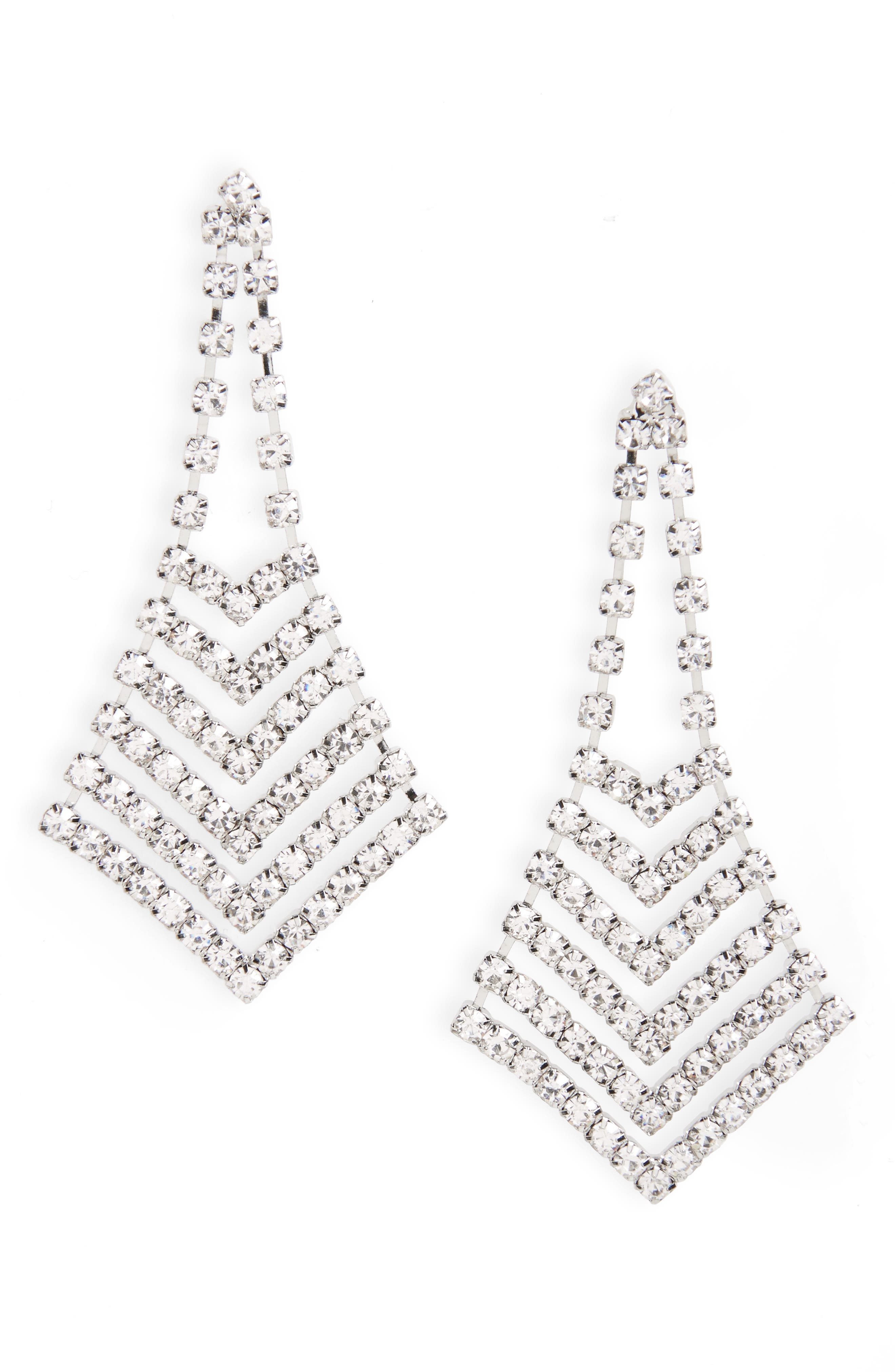 Crystal Chevron Chandelier Earrings,                         Main,                         color, Silver