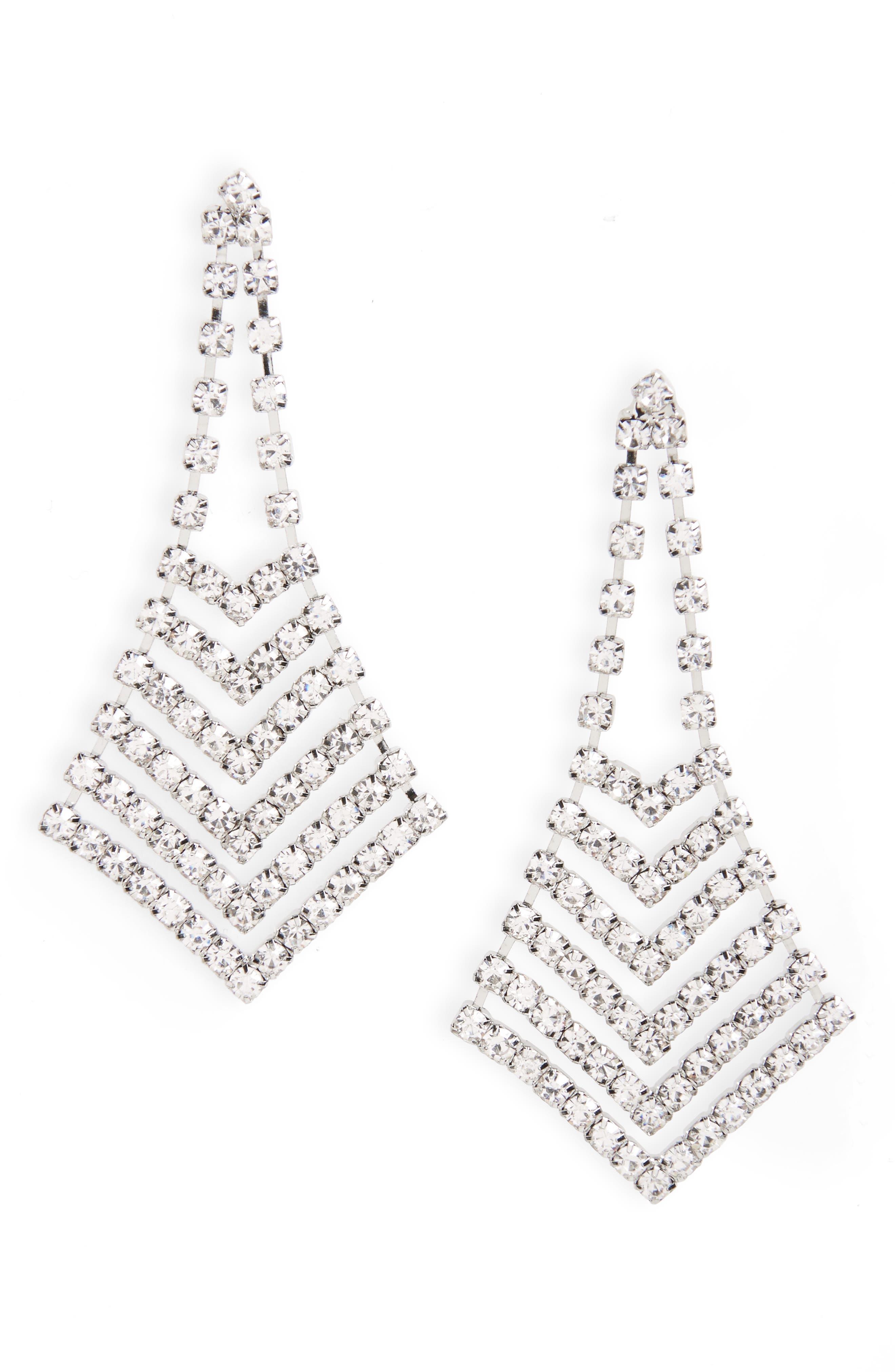 Nina Crystal Chevron Chandelier Earrings