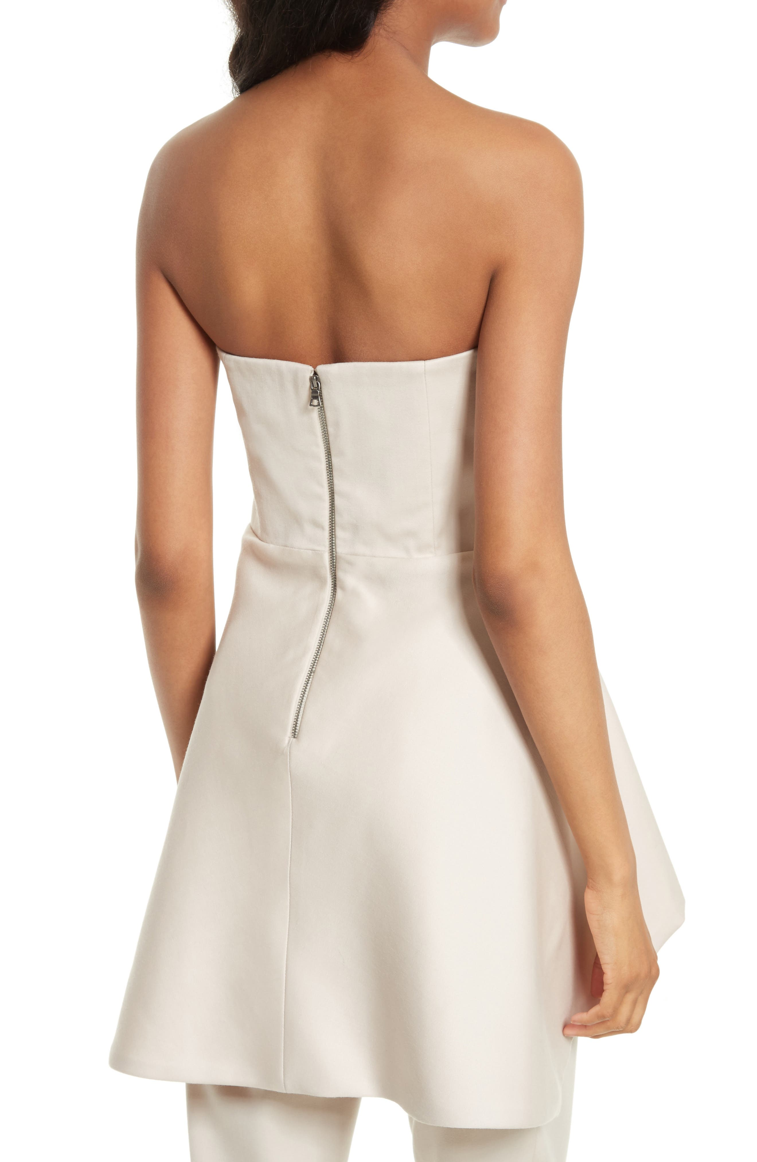 Duncan Strapless High/Low Peplum Top,                             Alternate thumbnail 3, color,                             Pale Nude
