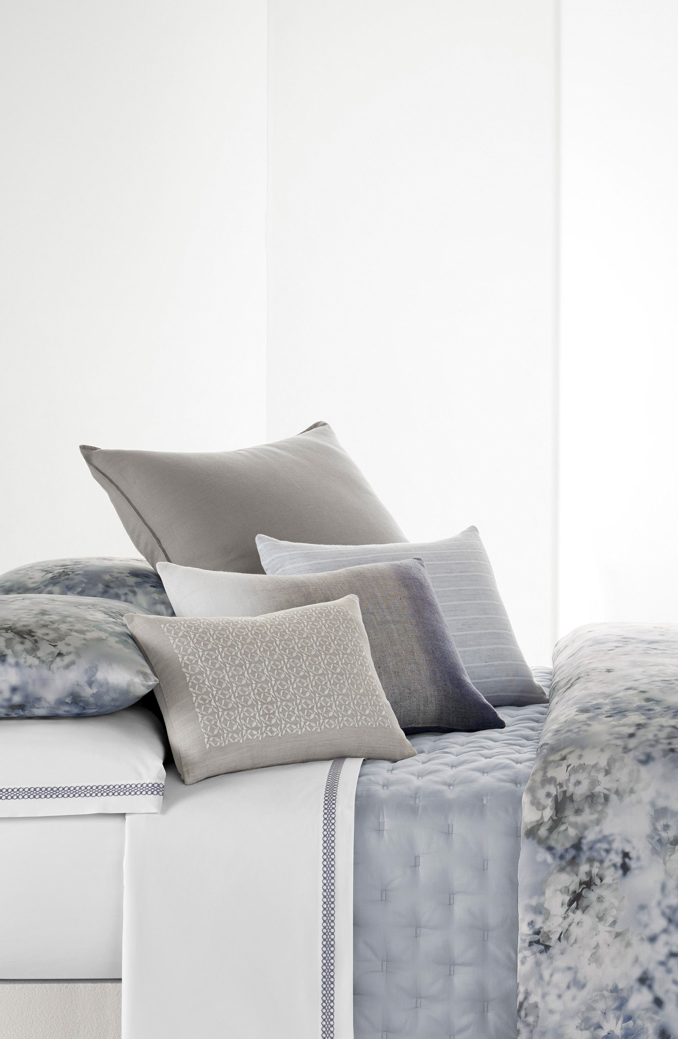 Veiled Bouquet Breakfast Accent Pillow,                             Alternate thumbnail 3, color,                             Light Grey