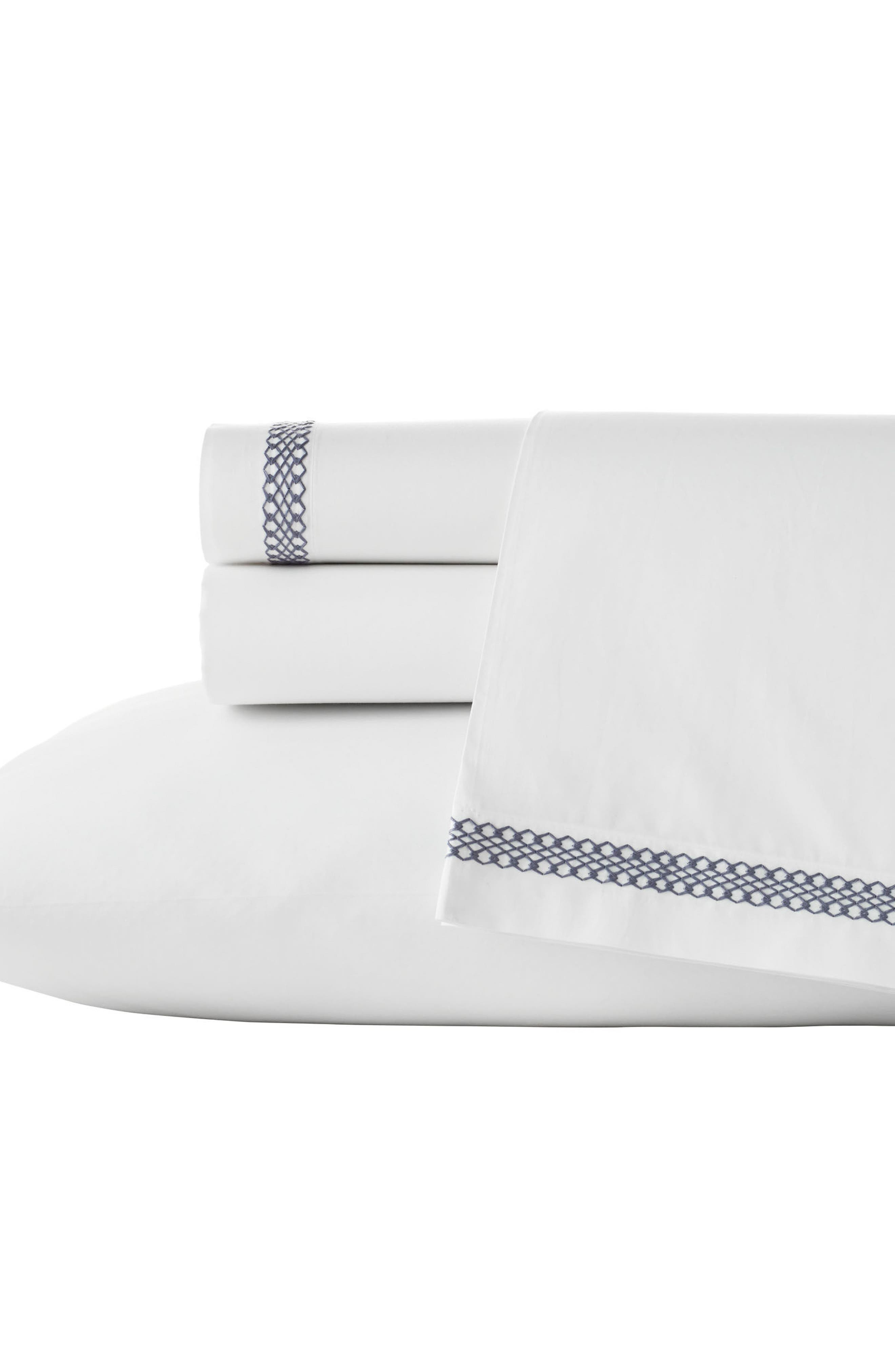 Veiled Bouquet 350 Thread Count Fitted Sheet,                             Main thumbnail 1, color,                             White