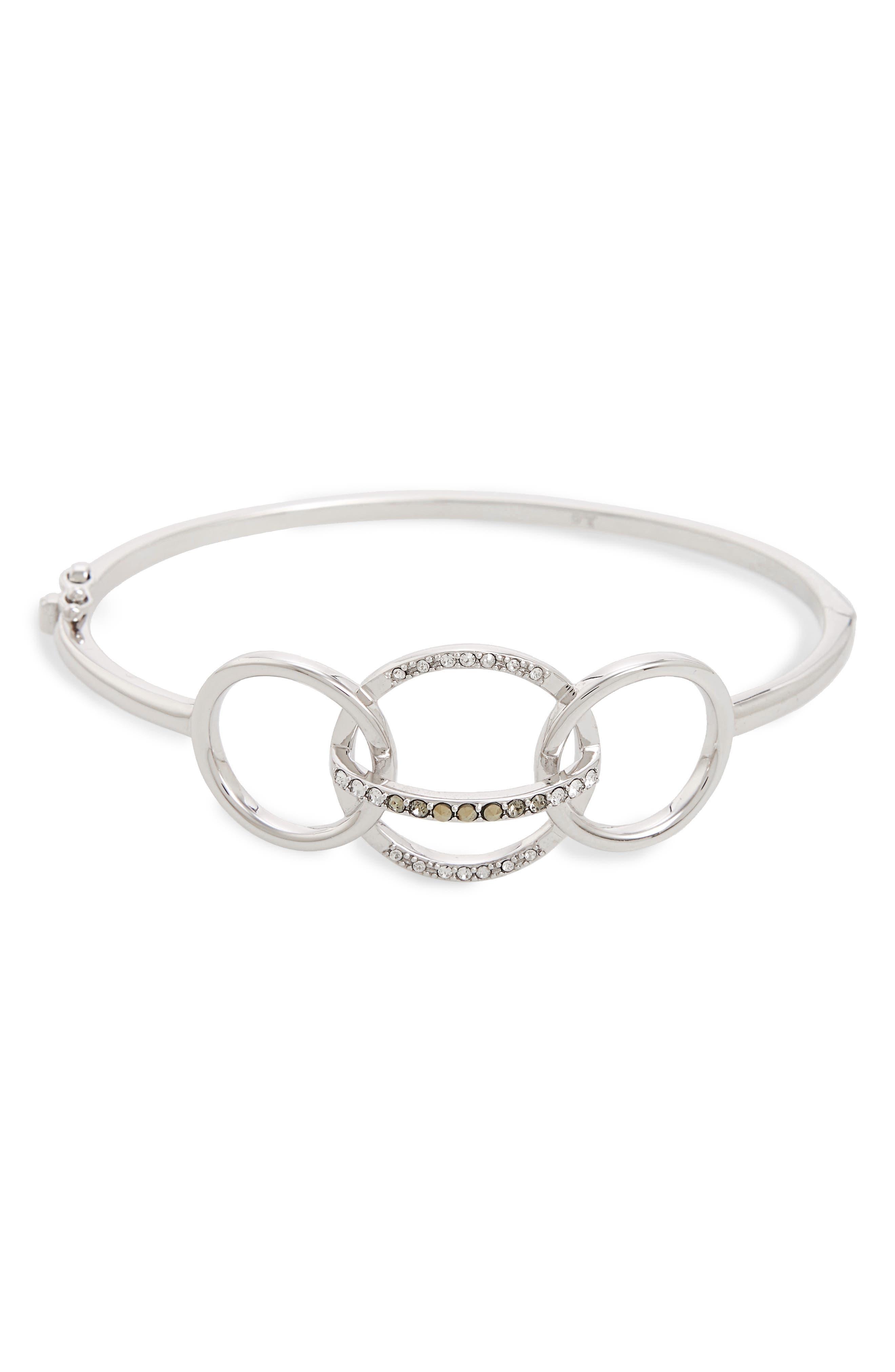 Silver Sparkle Circle Cuff,                         Main,                         color, Black Diamond/ Marcasite
