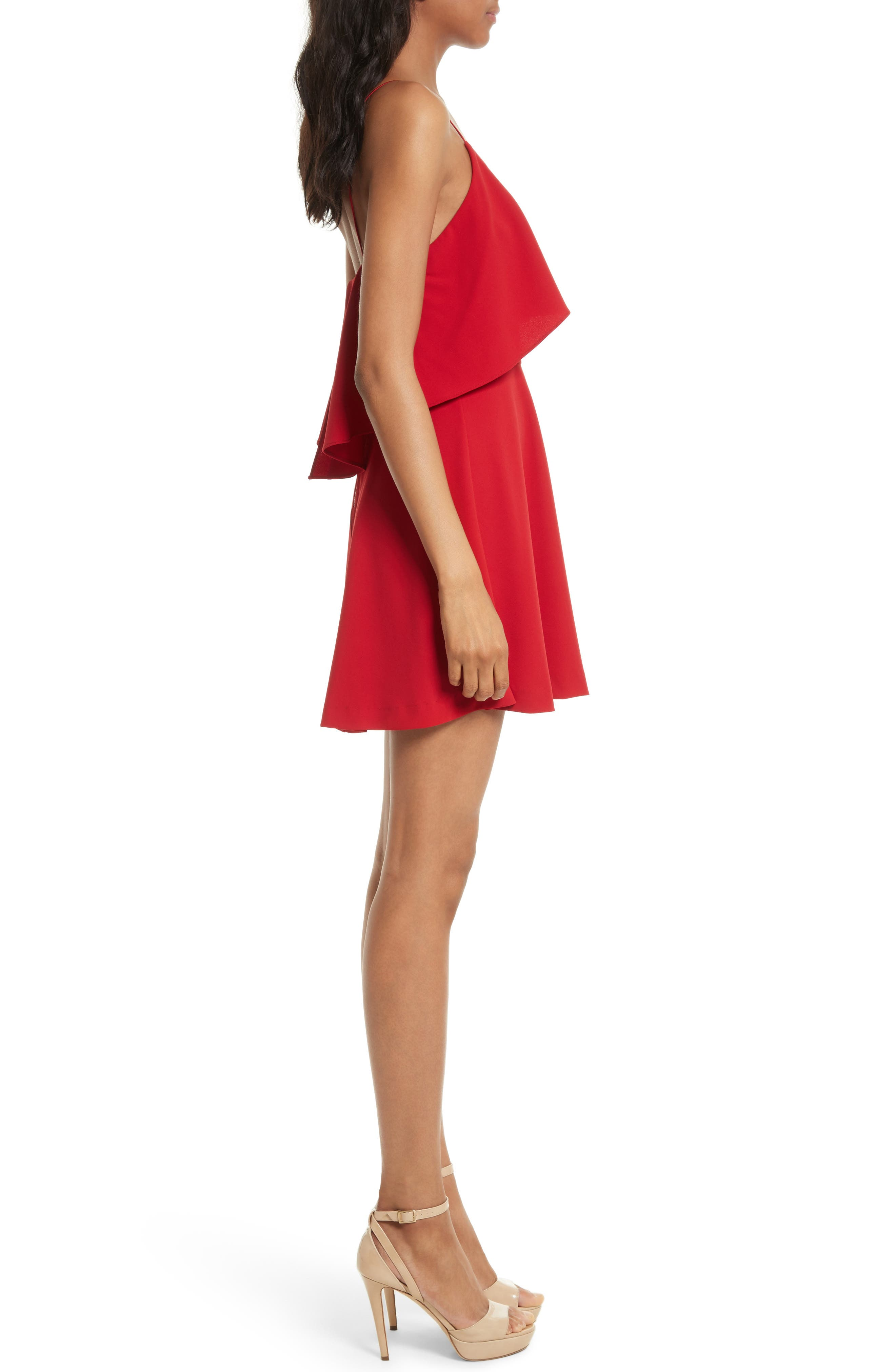Kipp Layered Ruffle Short Dress,                             Alternate thumbnail 3, color,                             Deep Ruby