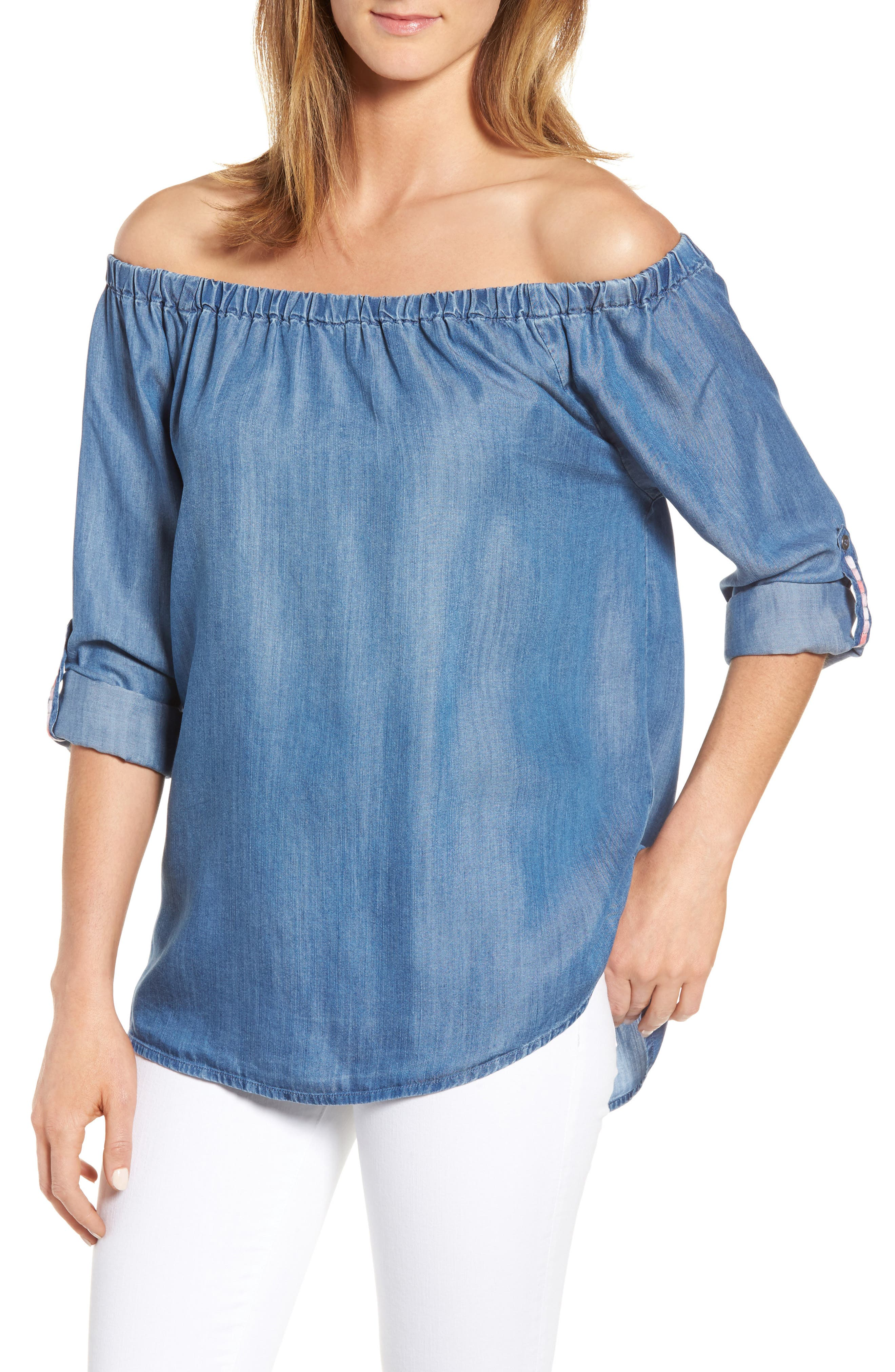 Billy T Roll Sleeve Off the Shoulder Top