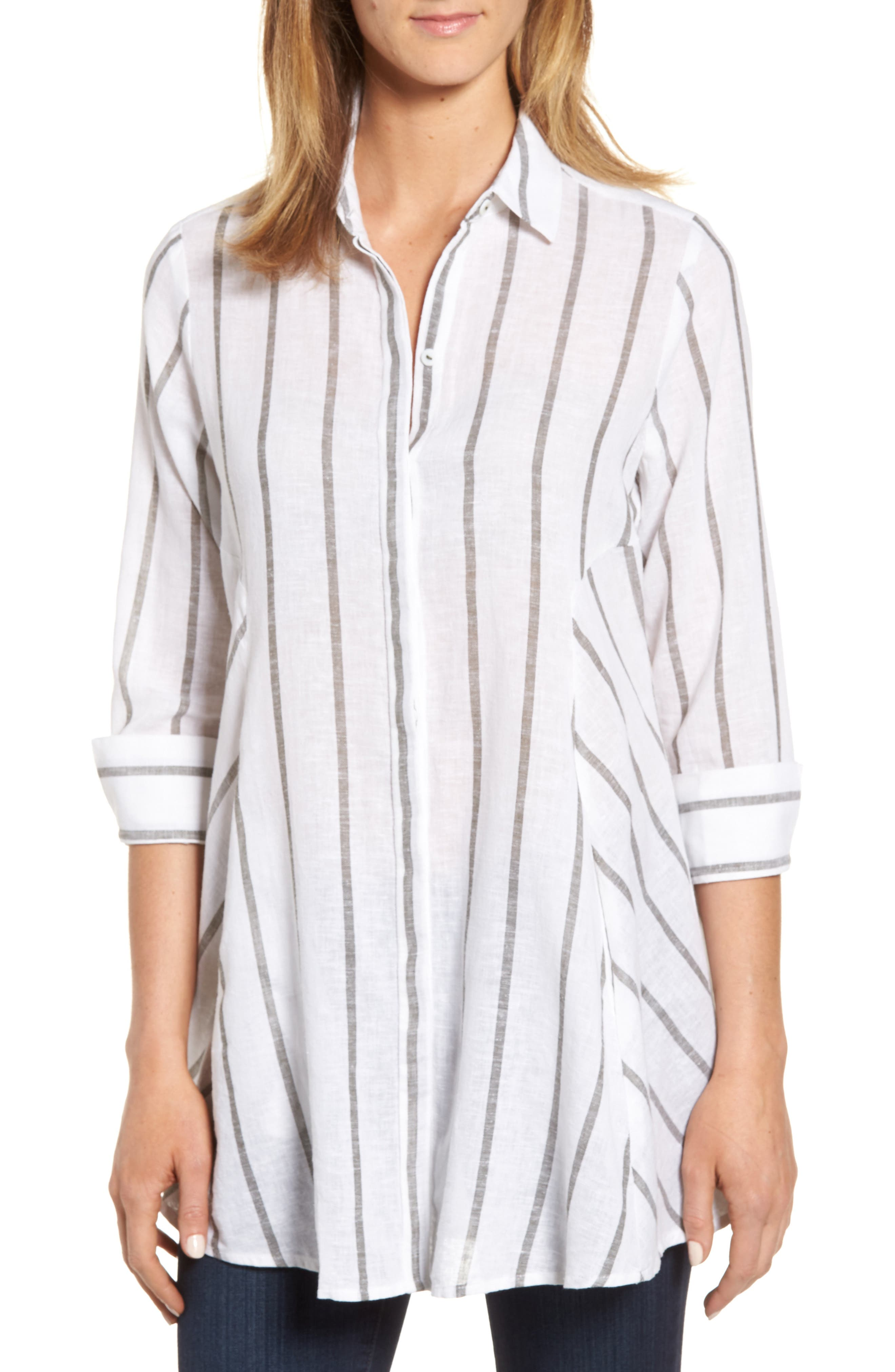 Stripe Tunic Shirt,                         Main,                         color, White/ Olive