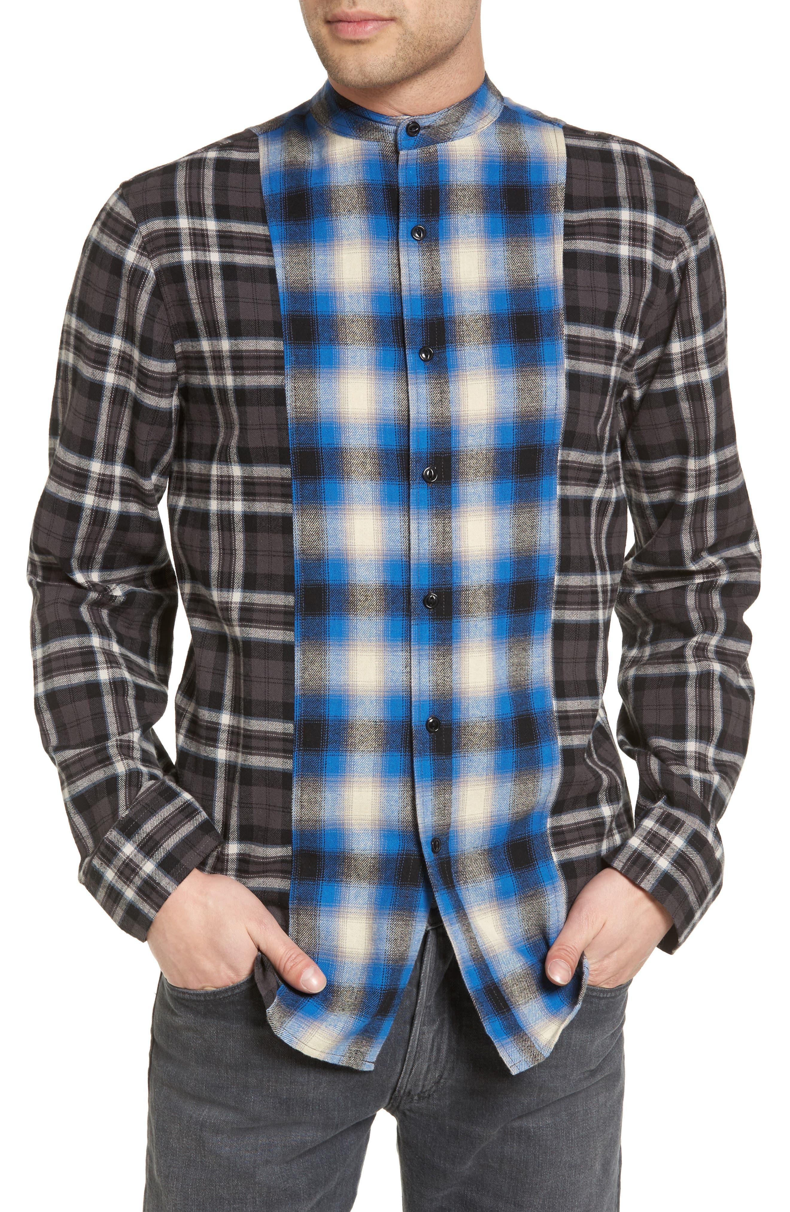 Multi Plaid Woven Shirt,                         Main,                         color, Black Rock Blue Blocked Plaid