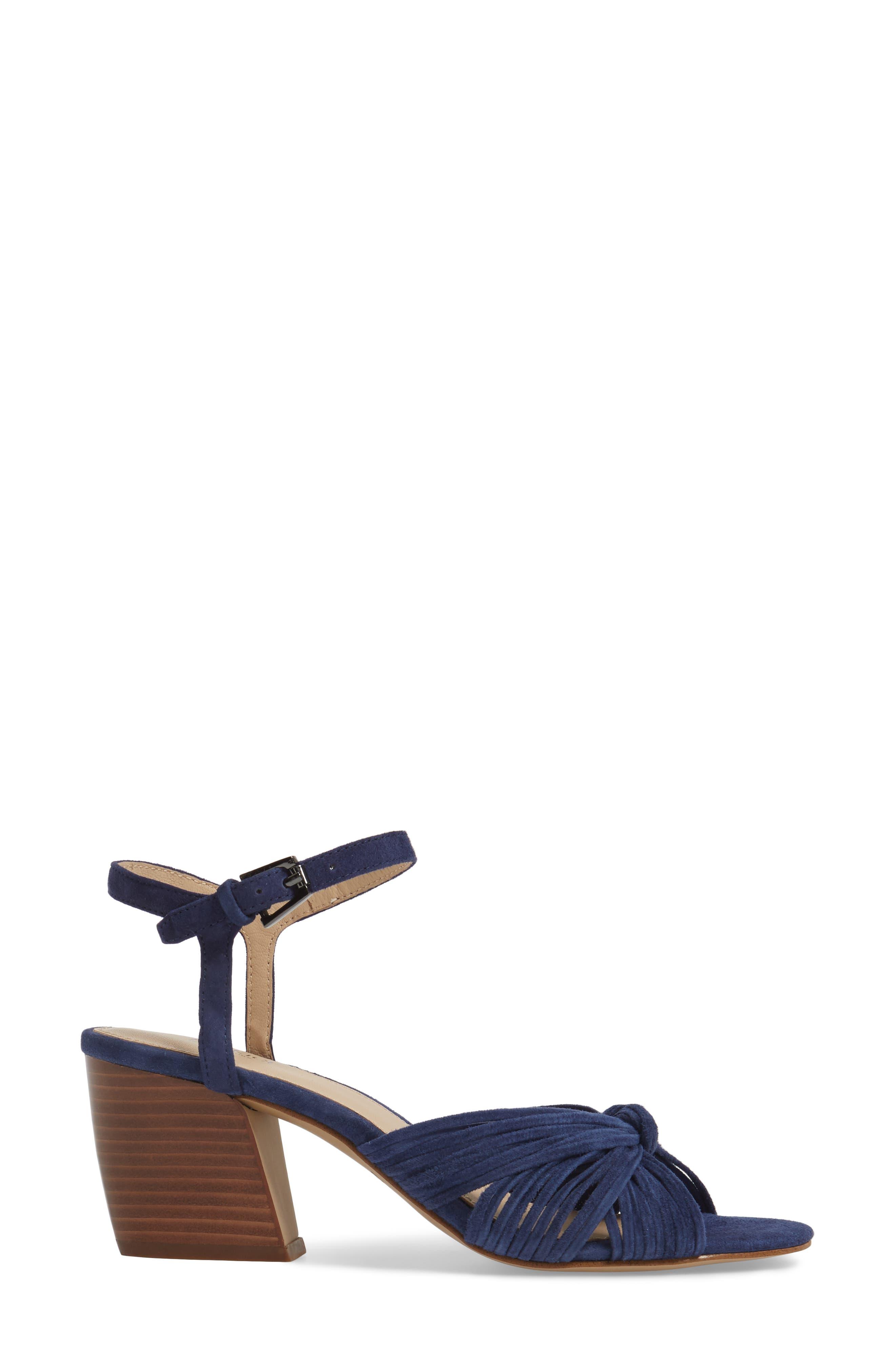 Patsy Block Heel Sandal,                             Alternate thumbnail 3, color,                             Navy