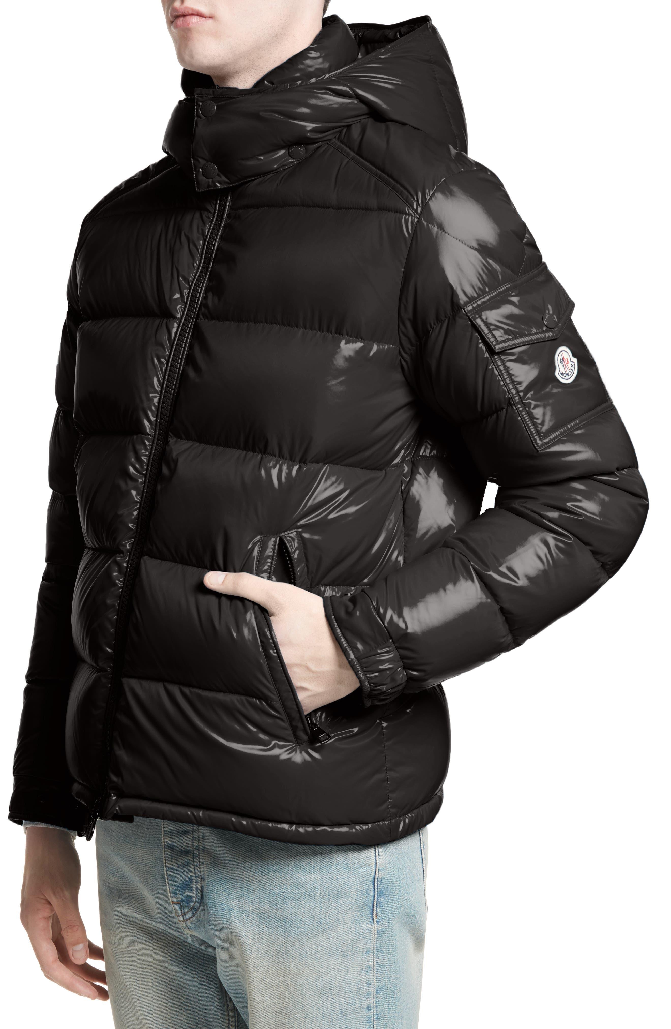 Maya Lacquered Down Jacket,                         Main,                         color, Black