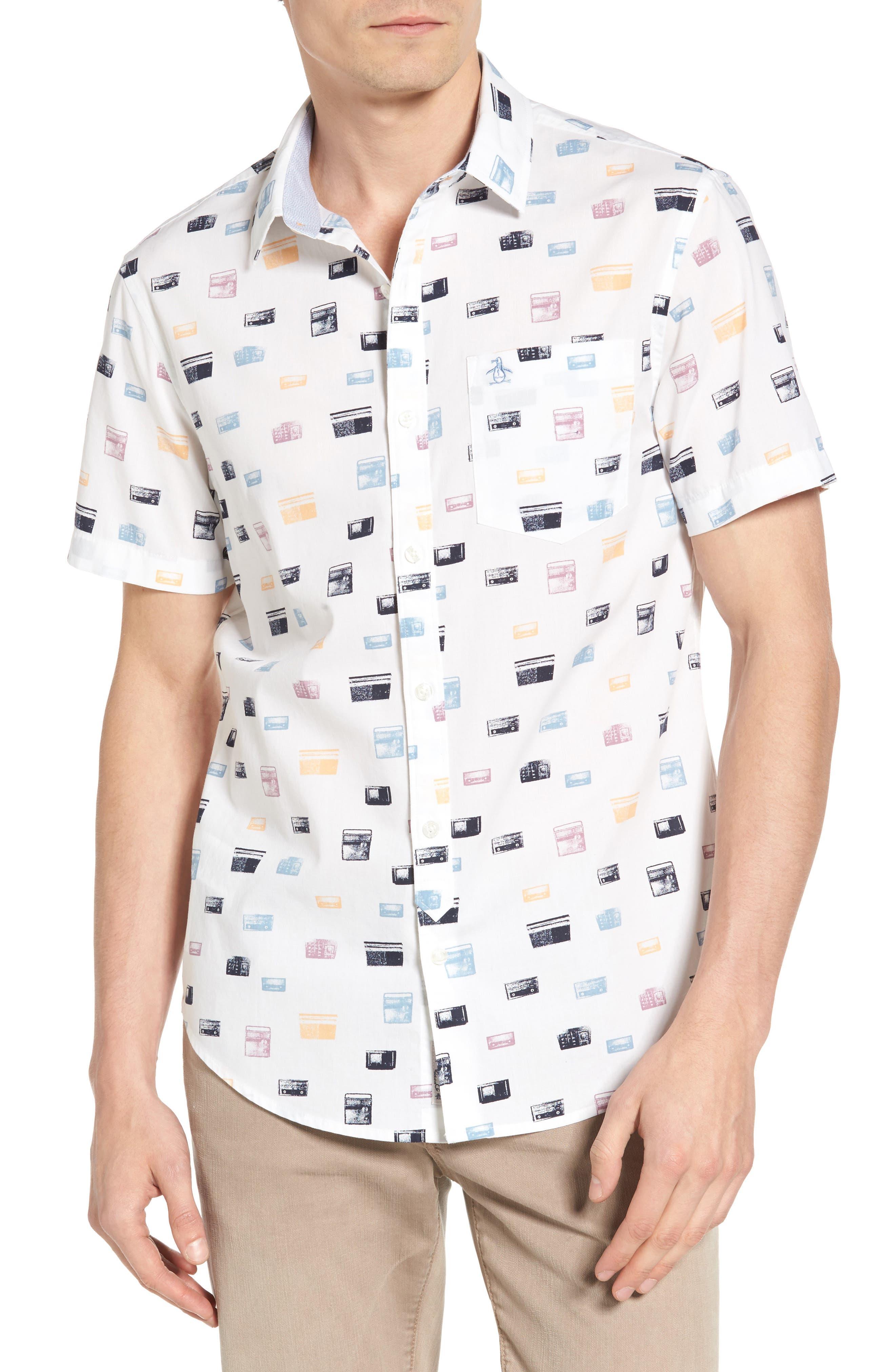 Original Penguin Heritage Slim Fit Radio Print Shirt