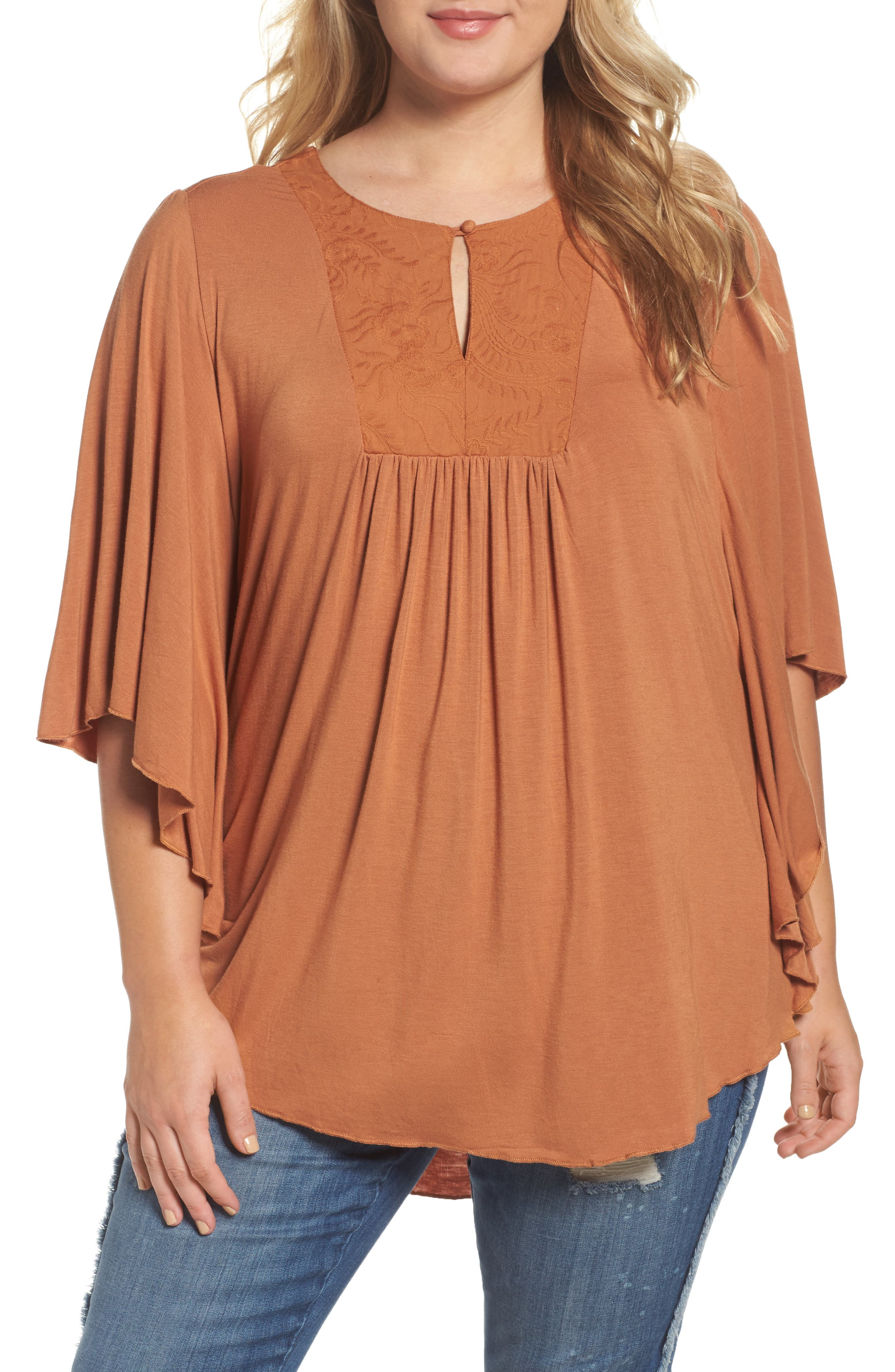 Alternate Image 1 Selected - Melissa McCarthy Seven7 Embroidered Bib Top (Plus Size)