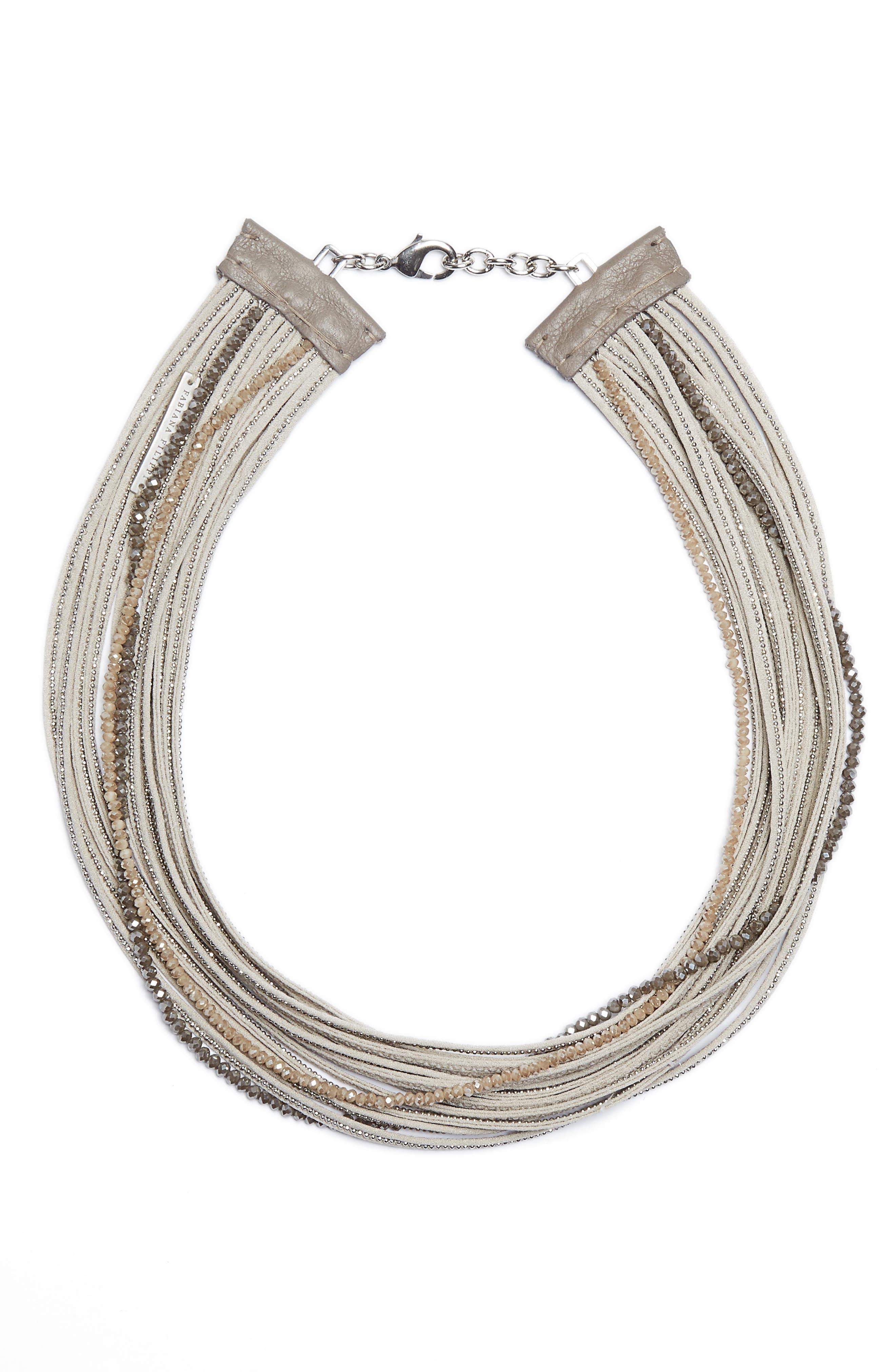 Fabiana Filippi Multistrand Beaded Stretch Silk Necklace