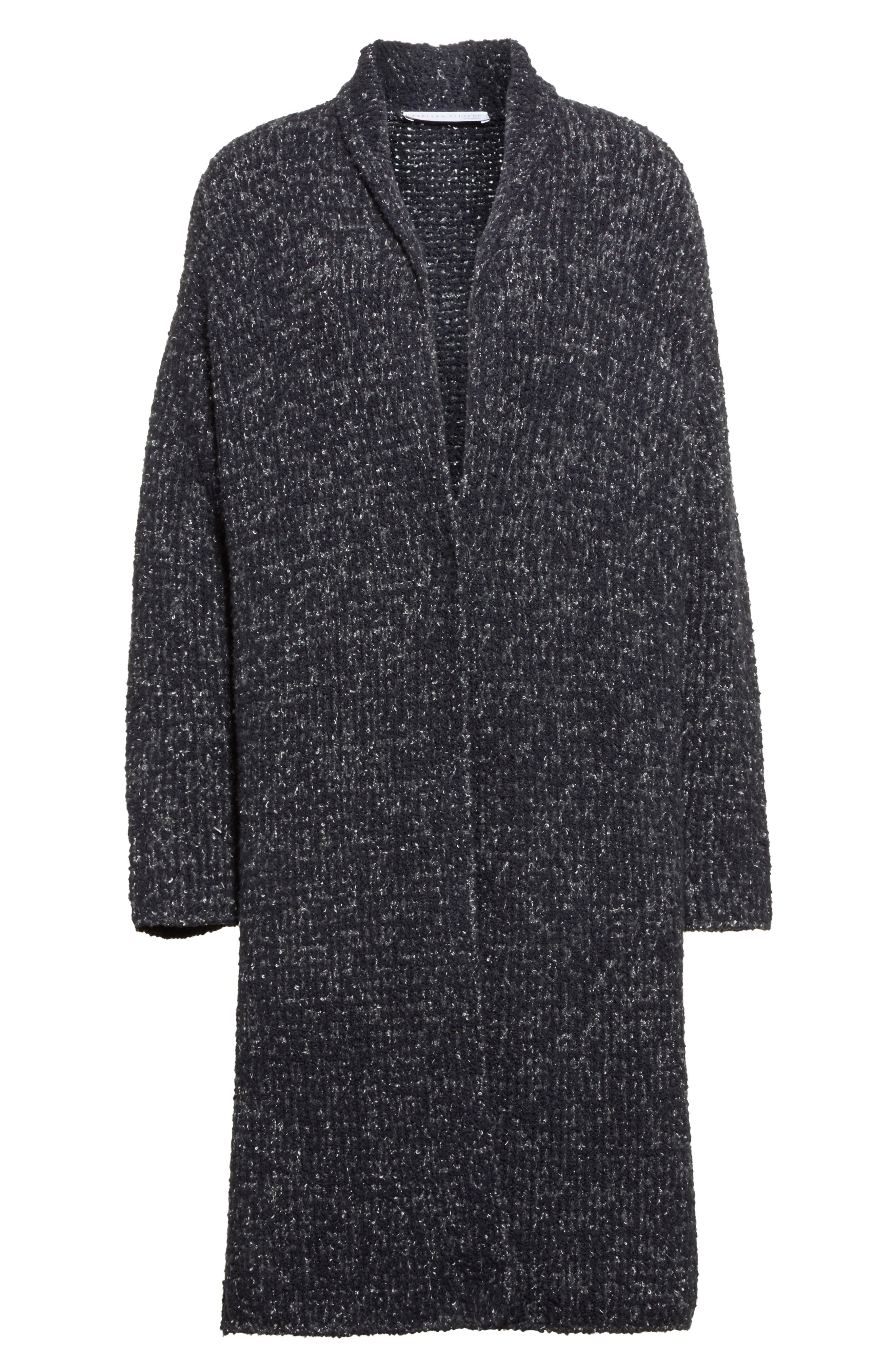 Wool Blend Bouclé Long Cardigan,                             Alternate thumbnail 4, color,                             Grey Multi