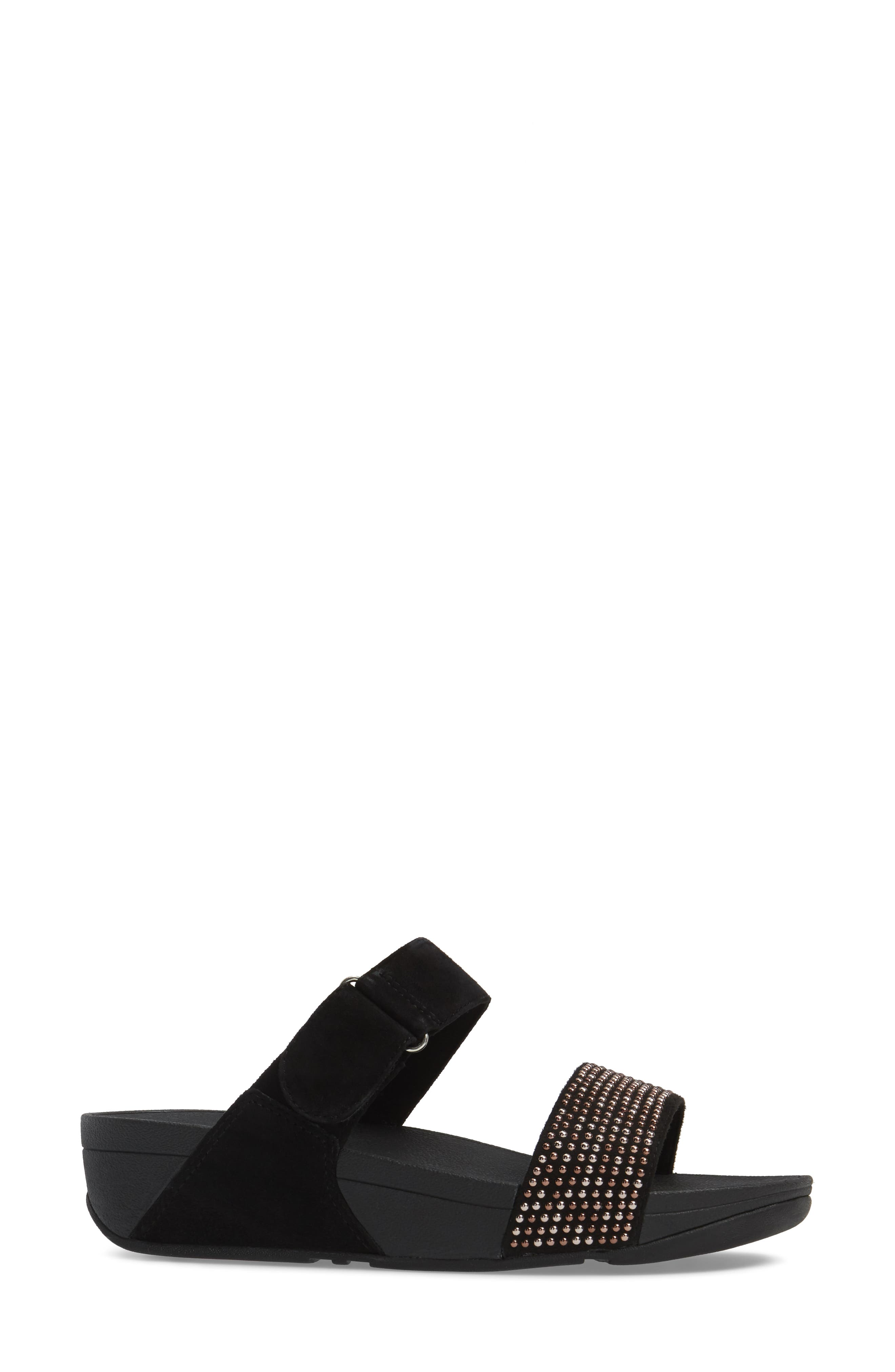 Lulu Popstud Wedge Slide Sandal,                             Alternate thumbnail 3, color,                             Black Fabric