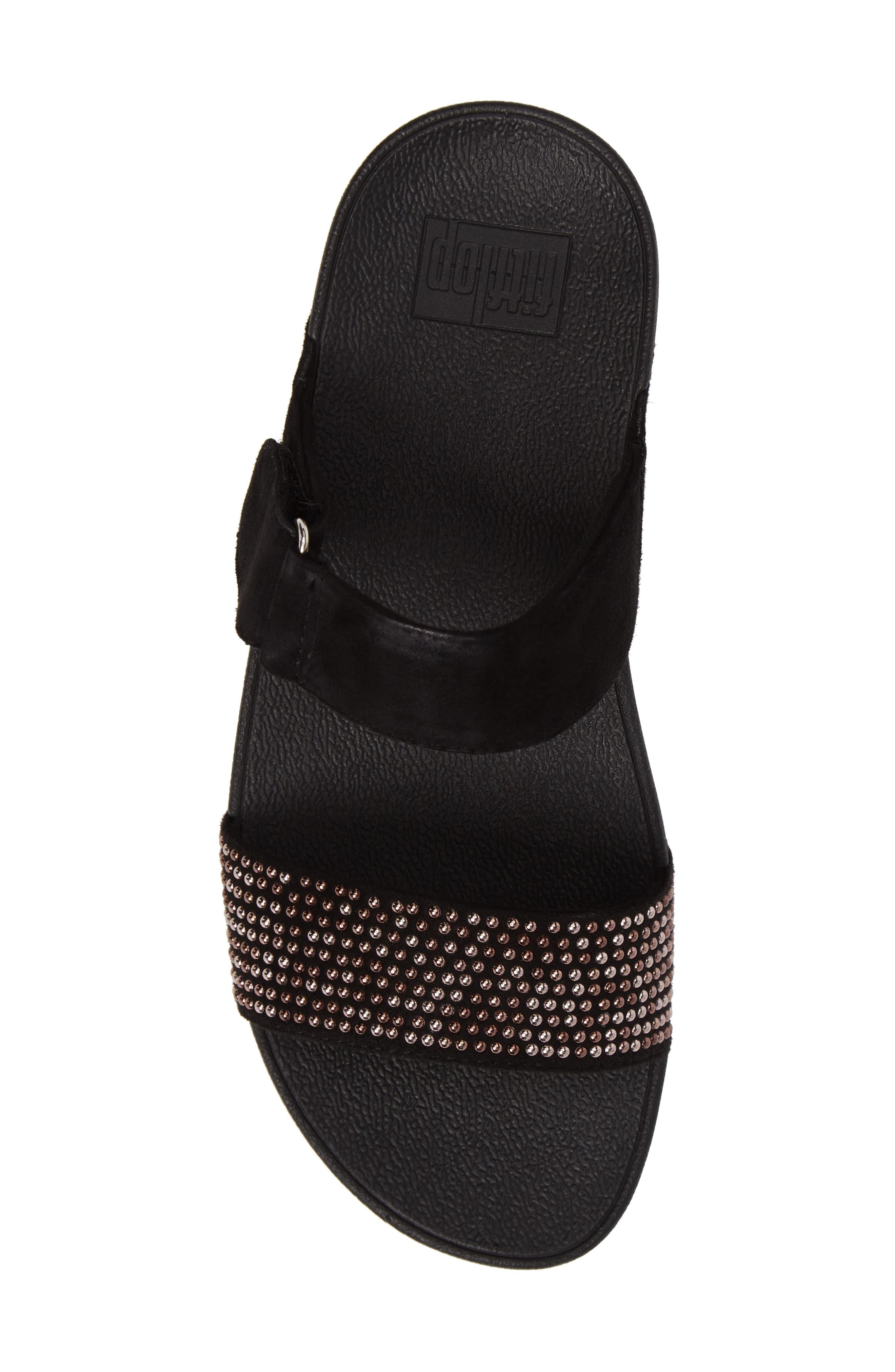 Lulu Popstud Wedge Slide Sandal,                             Alternate thumbnail 5, color,                             Black Fabric