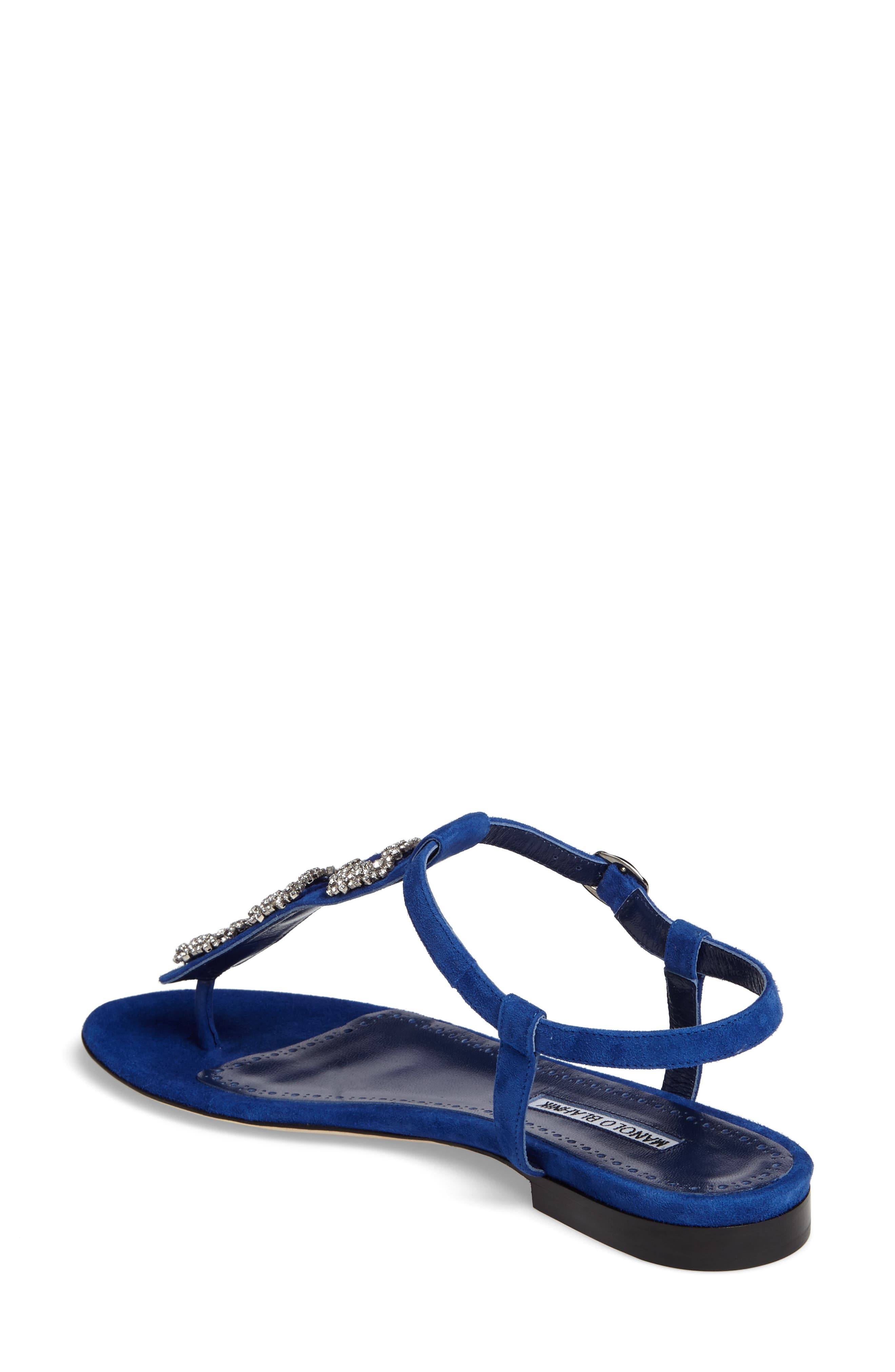 Ottolina T-Strap Sandal,                             Alternate thumbnail 2, color,                             Blue Suede