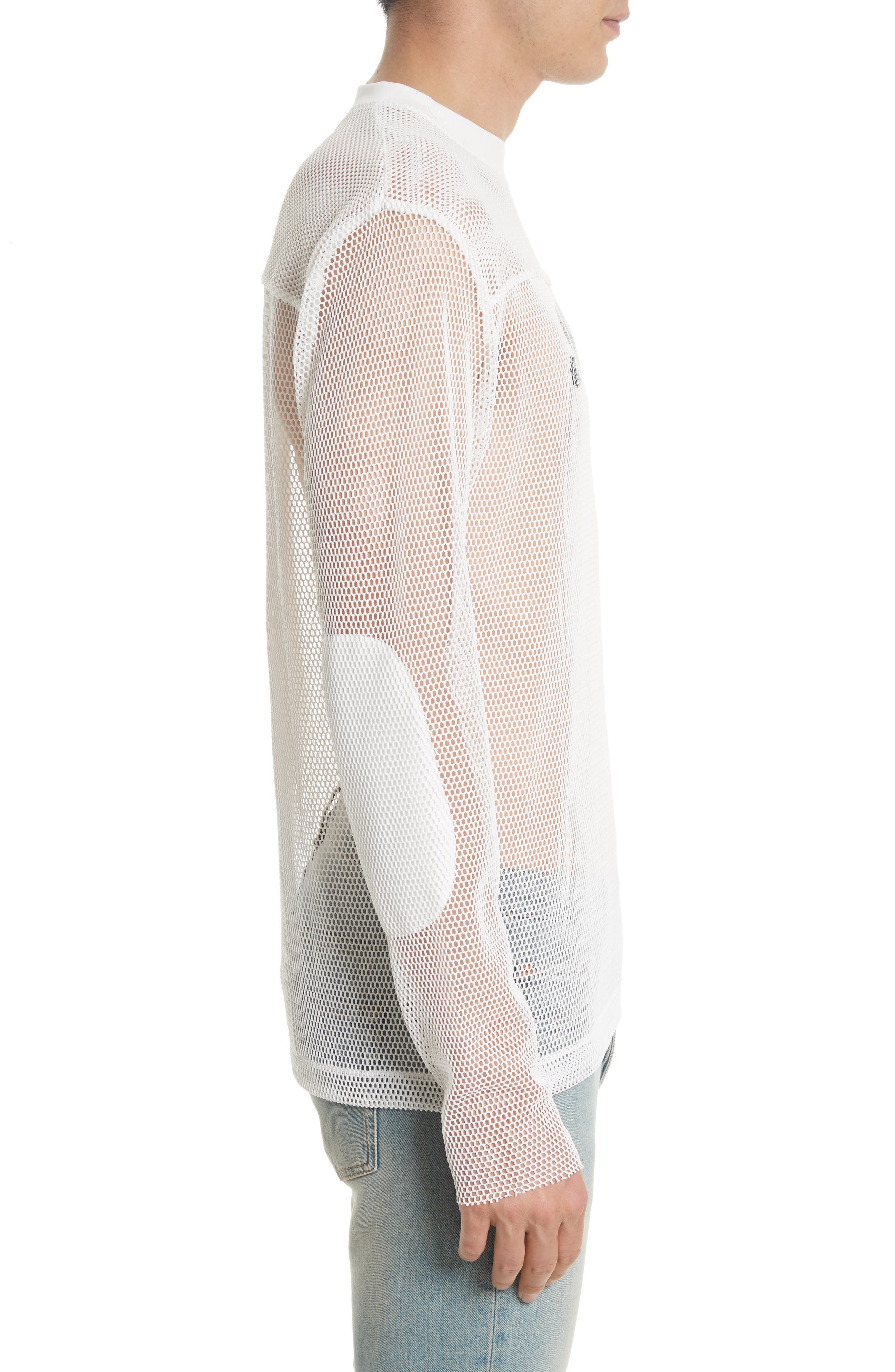 Splash Print Mesh Sweatshirt,                             Alternate thumbnail 3, color,                             White