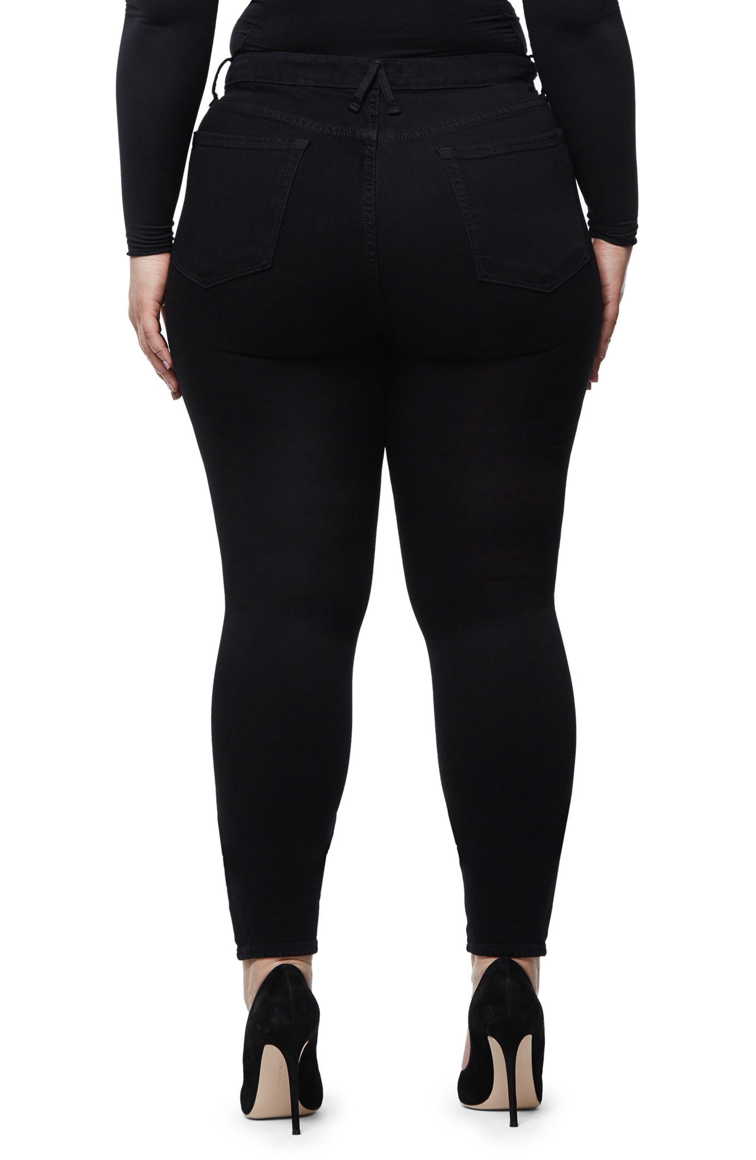 Good Waist Exposed Zip Skinny Jeans,                             Alternate thumbnail 8, color,                             Black001