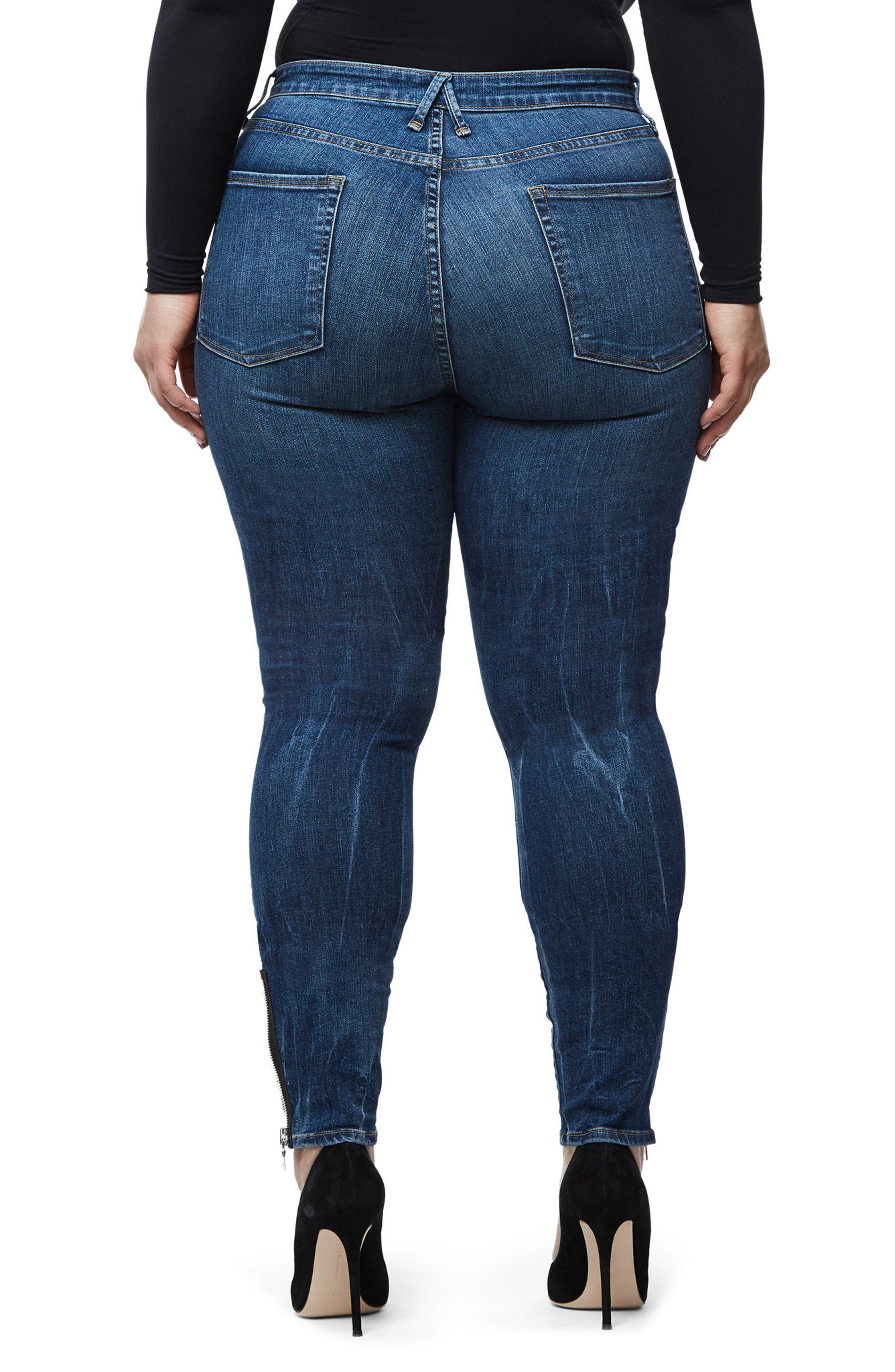 Alternate Image 8  - Good American Good Waist High Rise Ankle Jeans (Blue 076) (Regular & Plus Size)