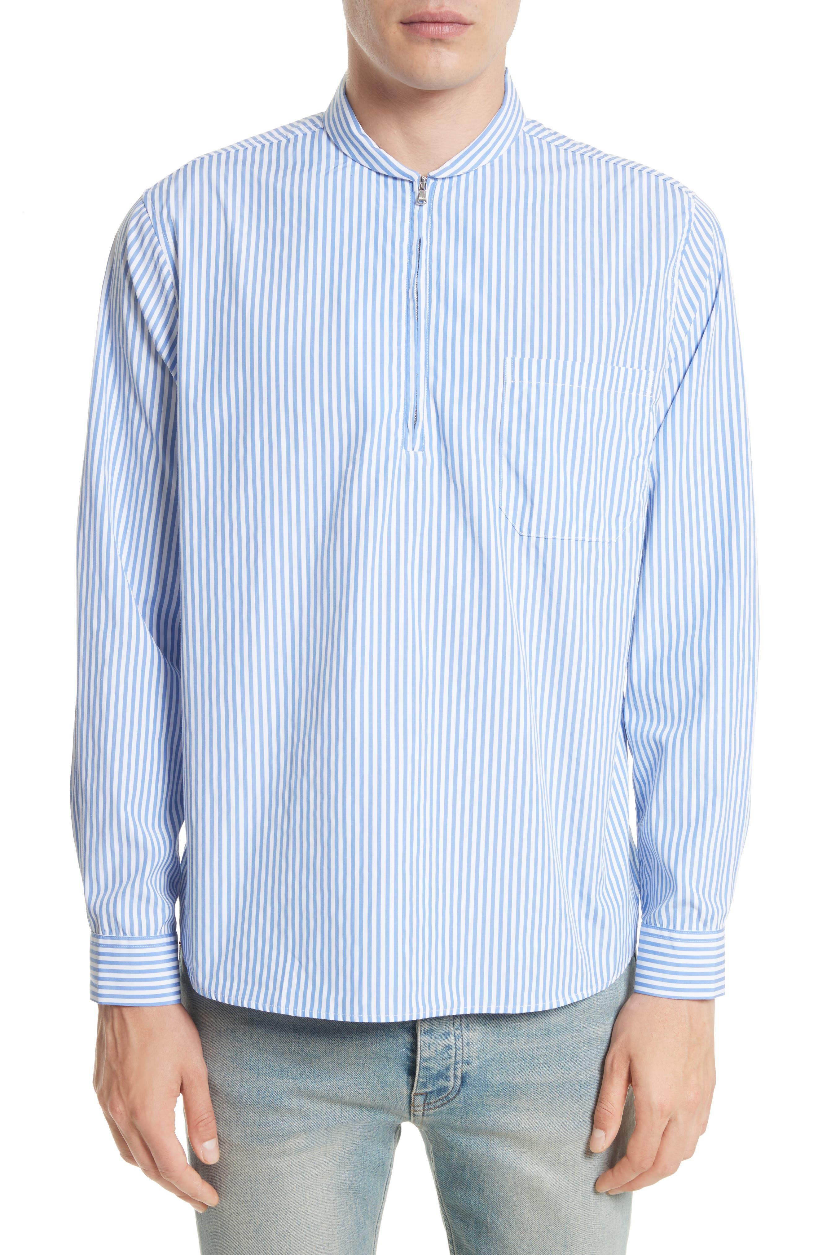 Shawl Collar Quarter Zip Shirt,                         Main,                         color, Blue