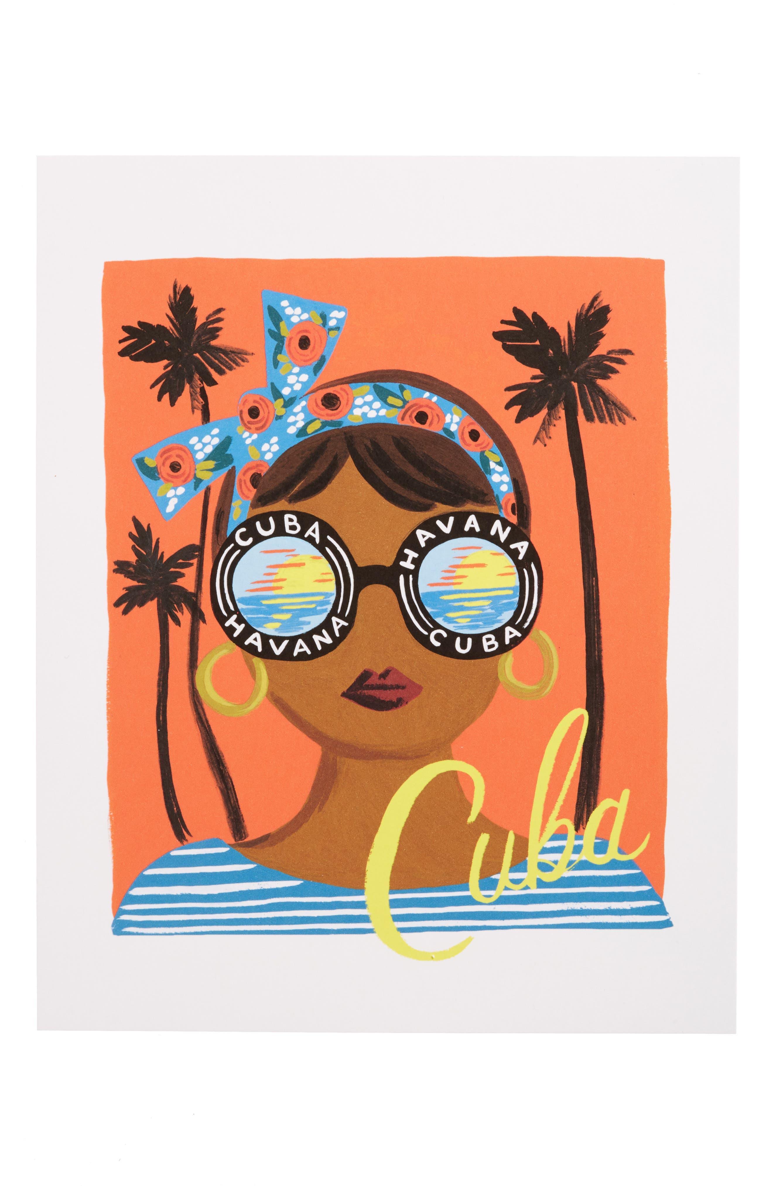 Bon Voyage Cuba Art Print,                         Main,                         color, White