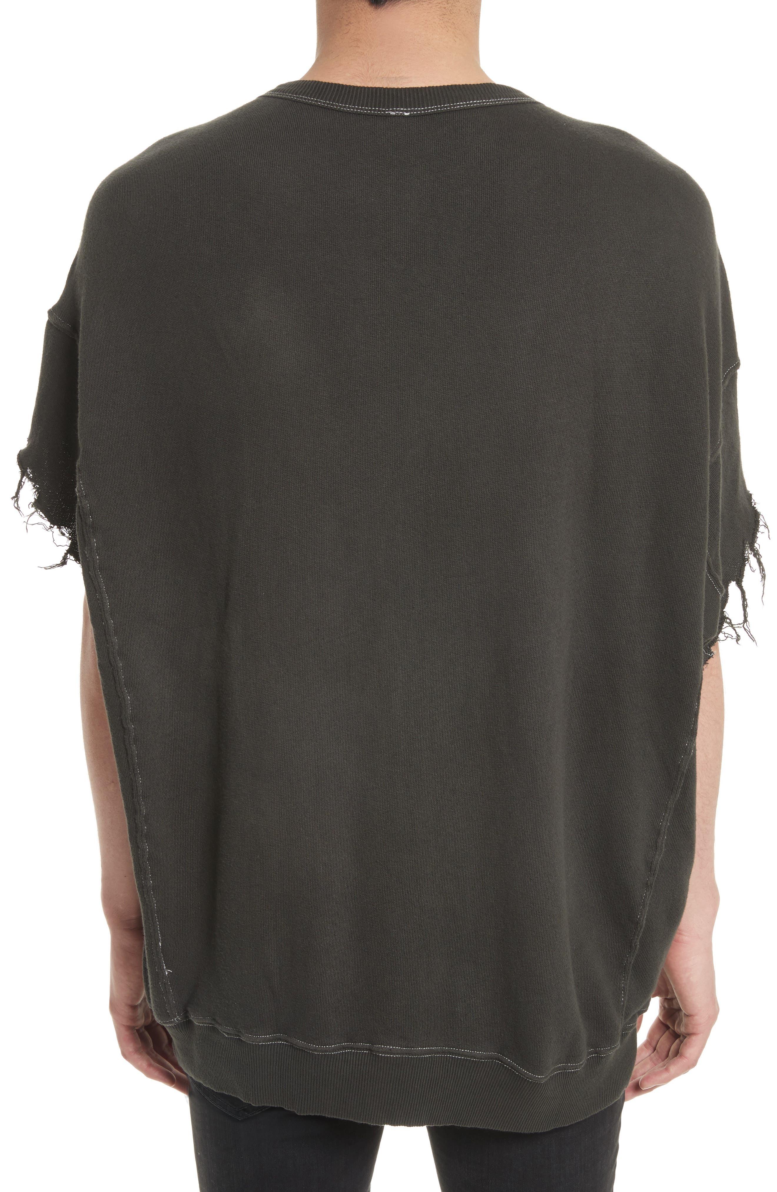 Print Cutoff Sweatshirt,                             Alternate thumbnail 2, color,                             Black