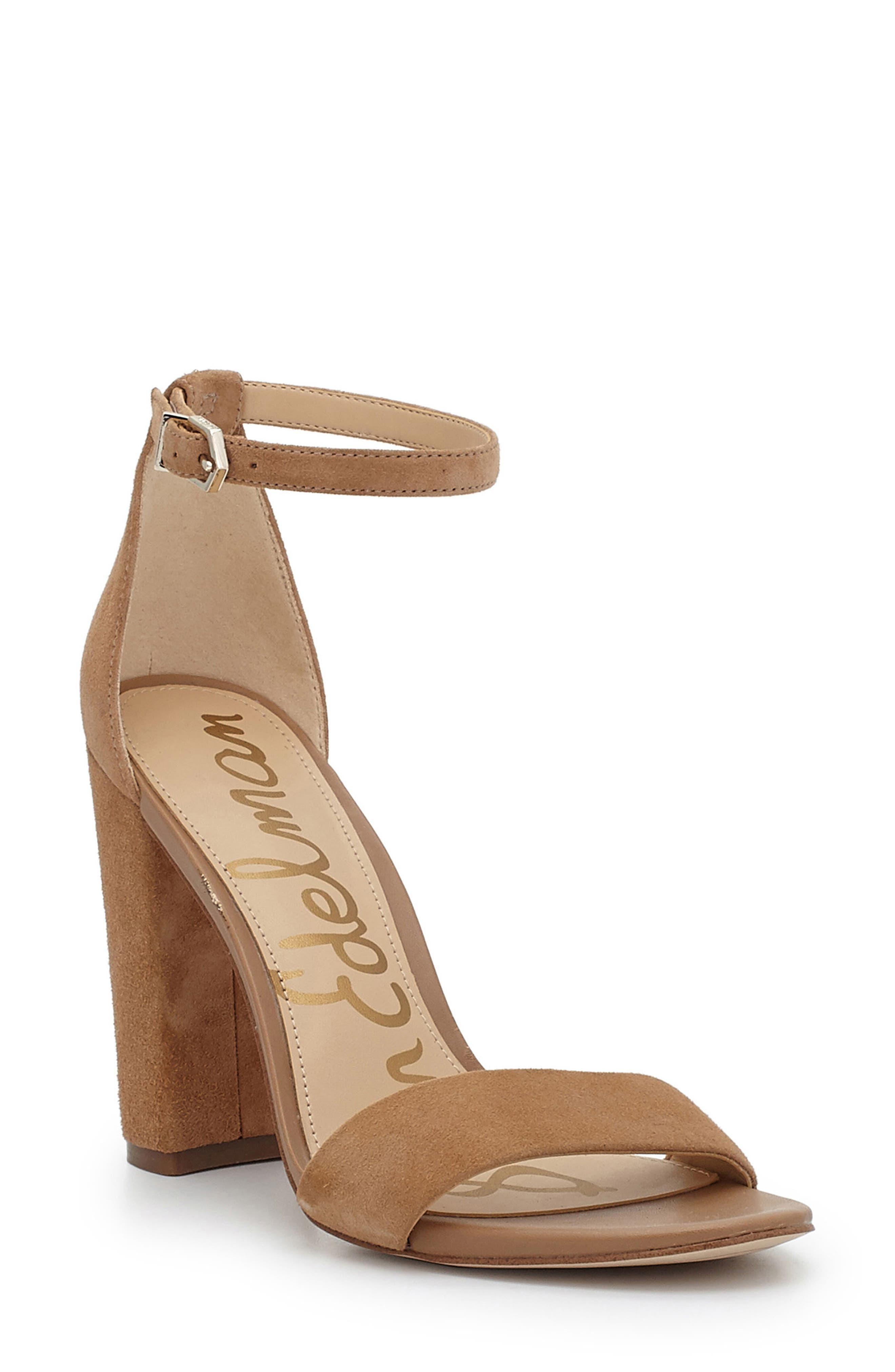 SAM EDELMAN Yaro Ankle Strap Sandal, Golden Caramel Suede