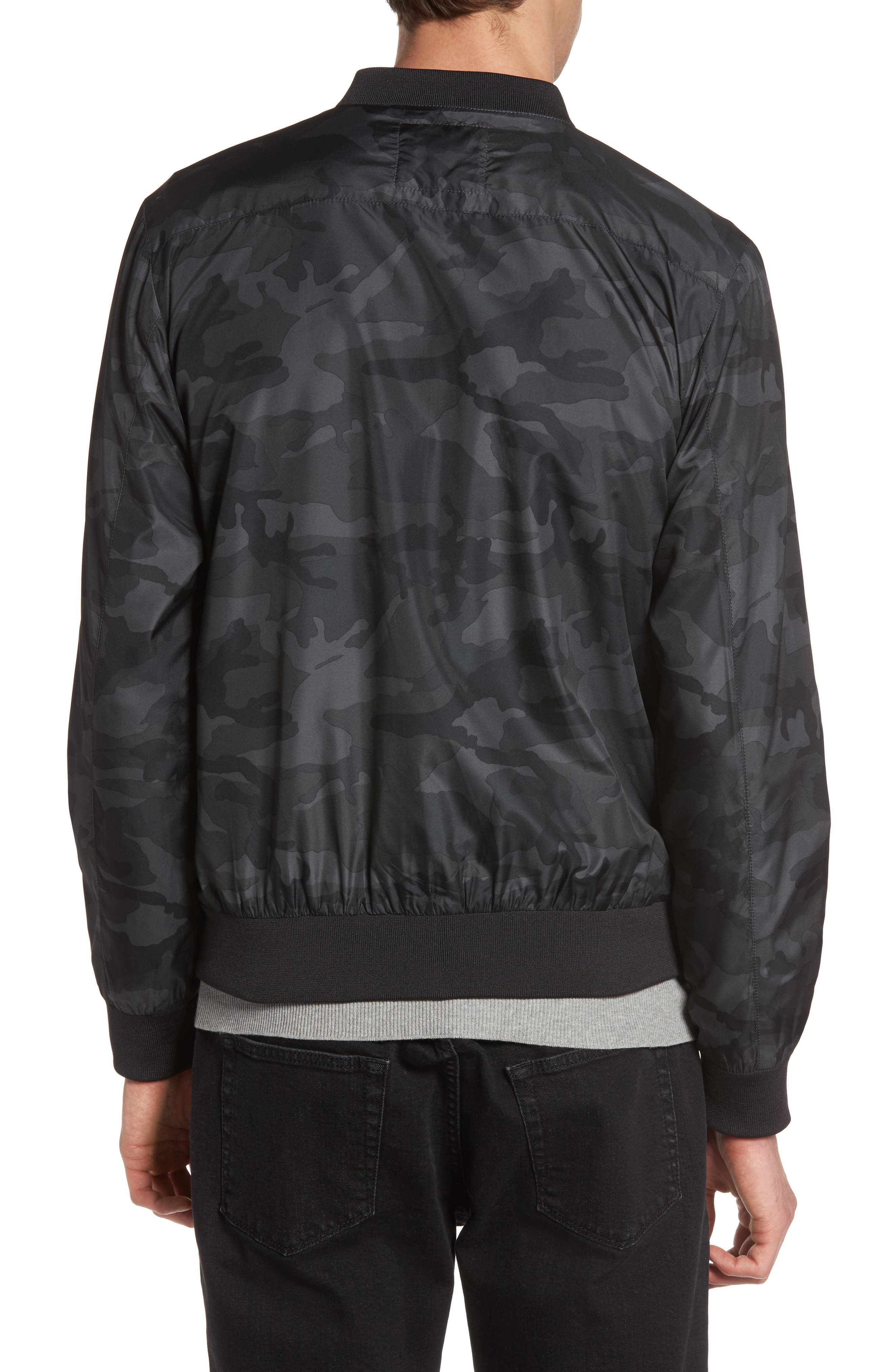 Camo Print Bomber Jacket,                             Alternate thumbnail 3, color,                             Grey Multi