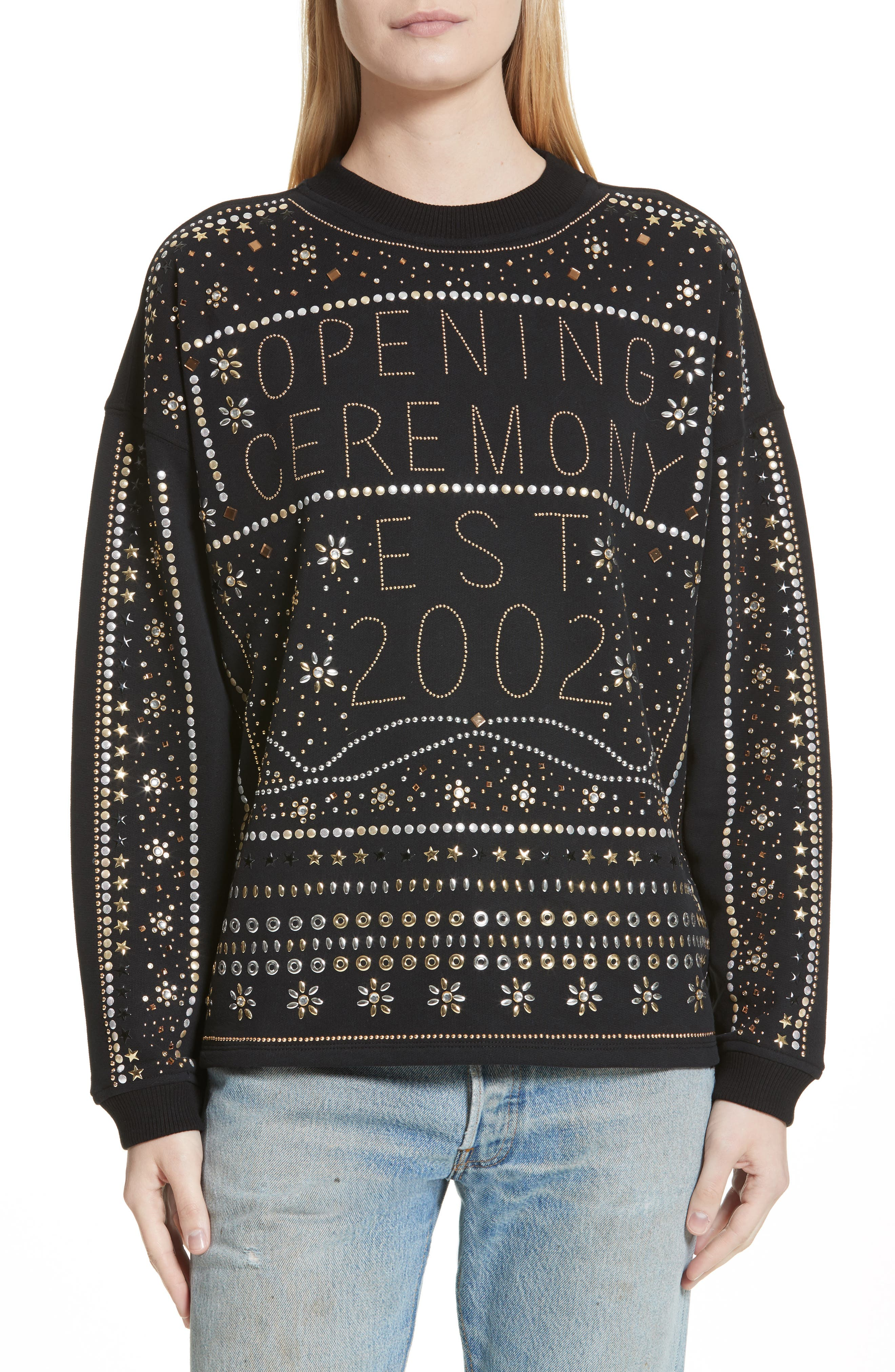Studded Logo Sweatshirt,                         Main,                         color, Black