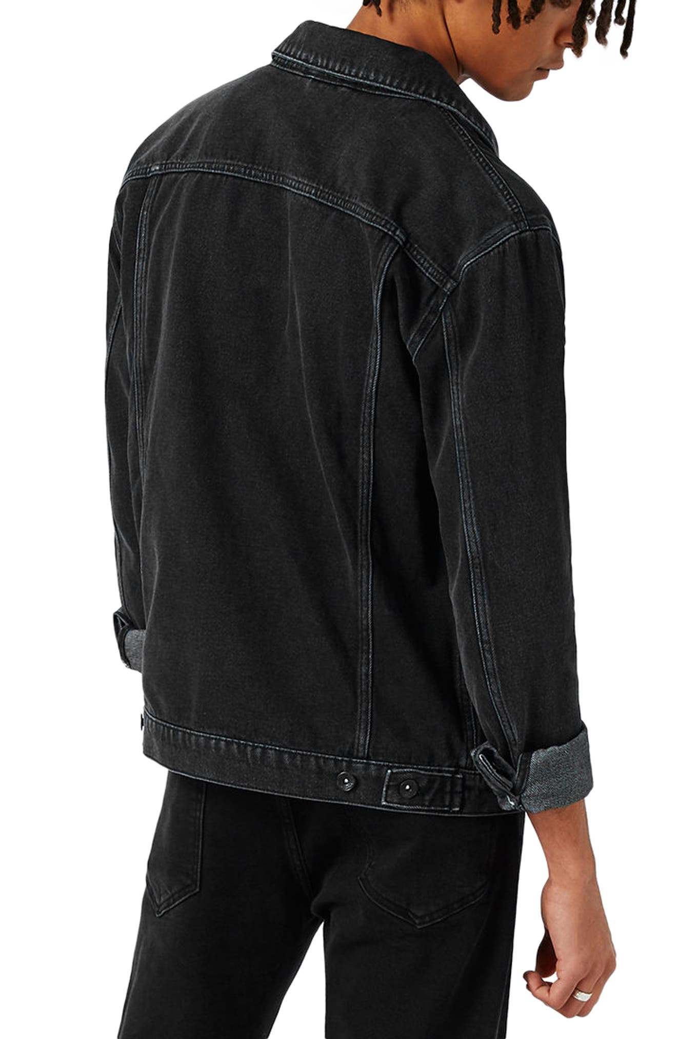 Western Denim Jacket,                             Alternate thumbnail 3, color,                             Black