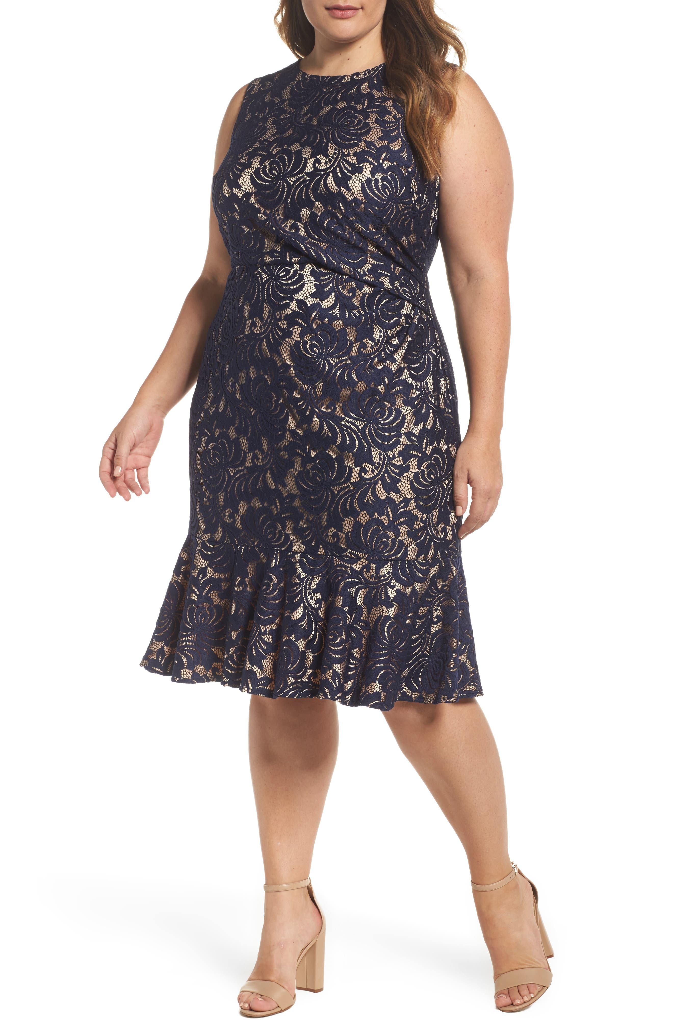 Eliza J Side Pleat Lace Dress (Plus Size)