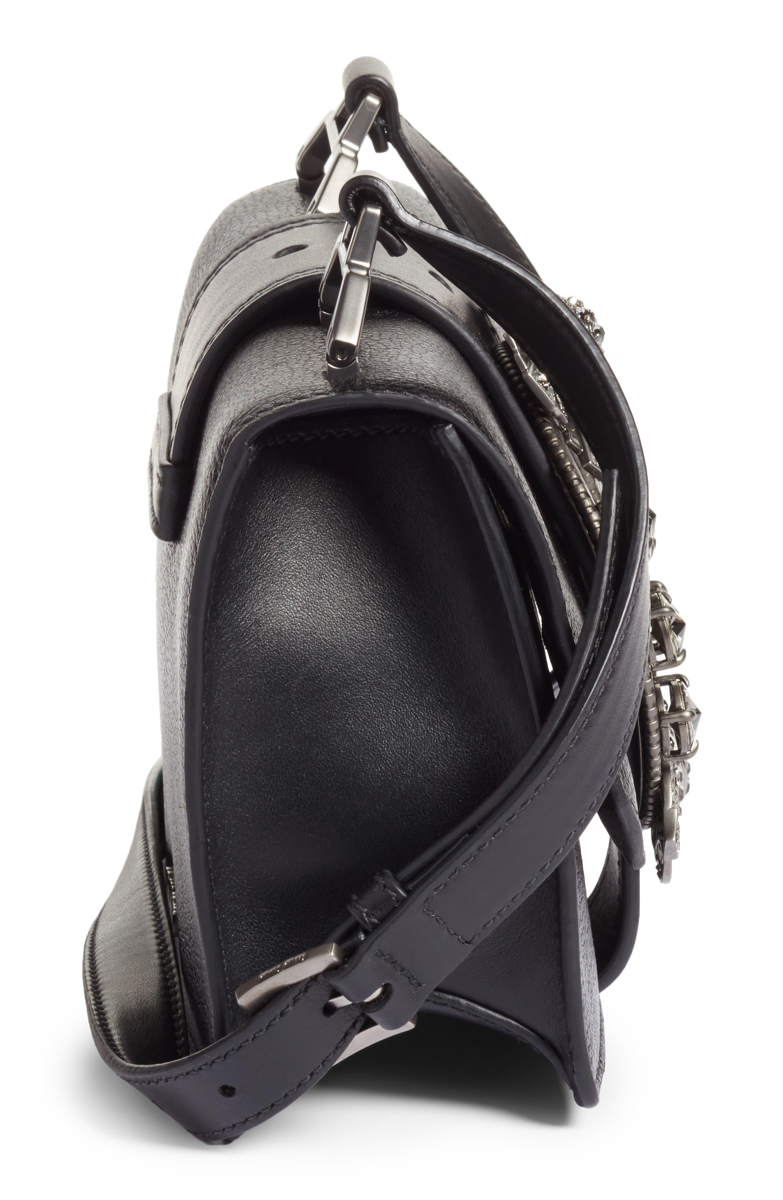 Madras Crystal Embellished Leather Shoulder Bag,                             Alternate thumbnail 5, color,                             Black