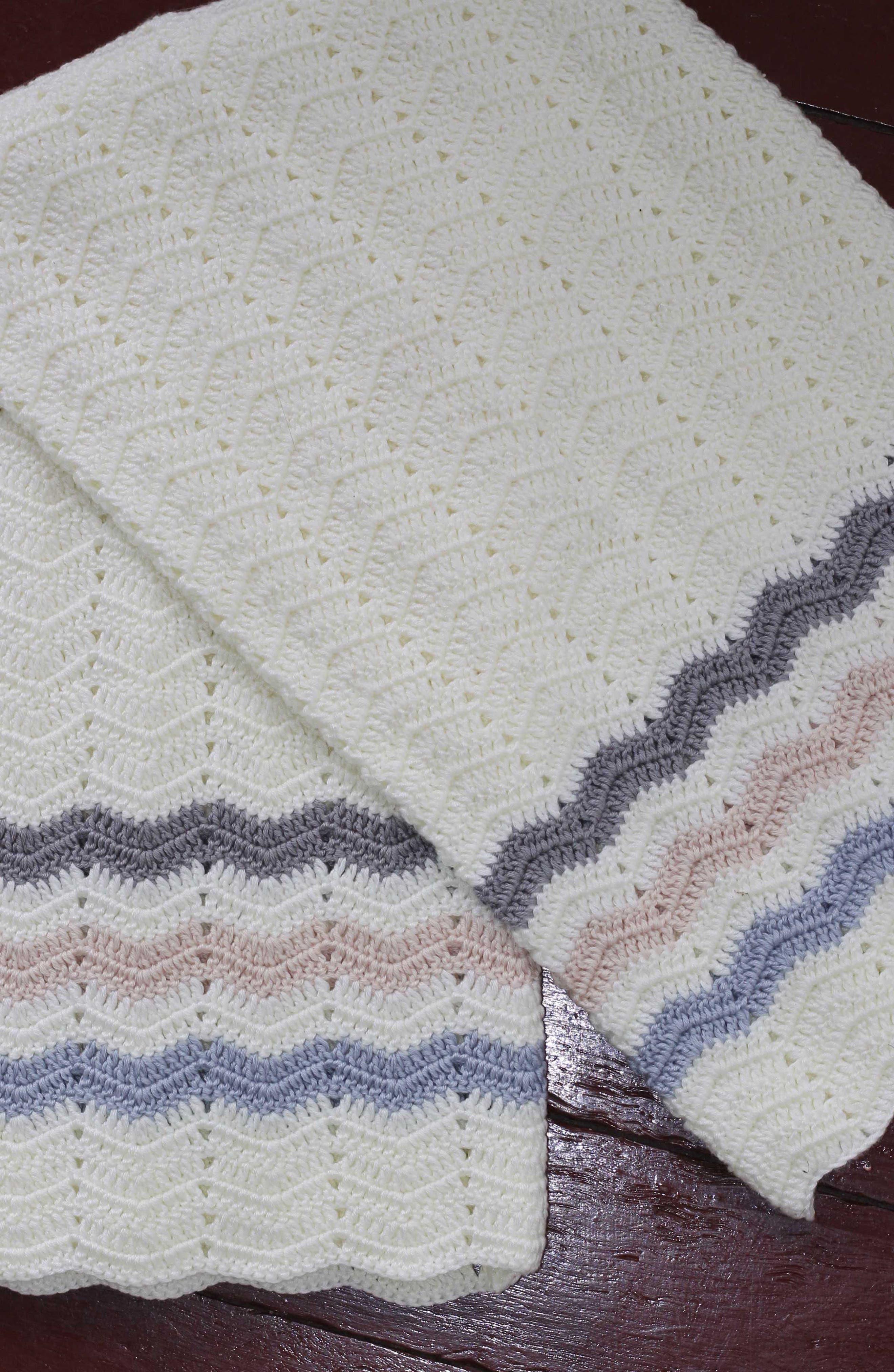 Ripple Crocheted Blanket,                             Alternate thumbnail 2, color,                             Blue