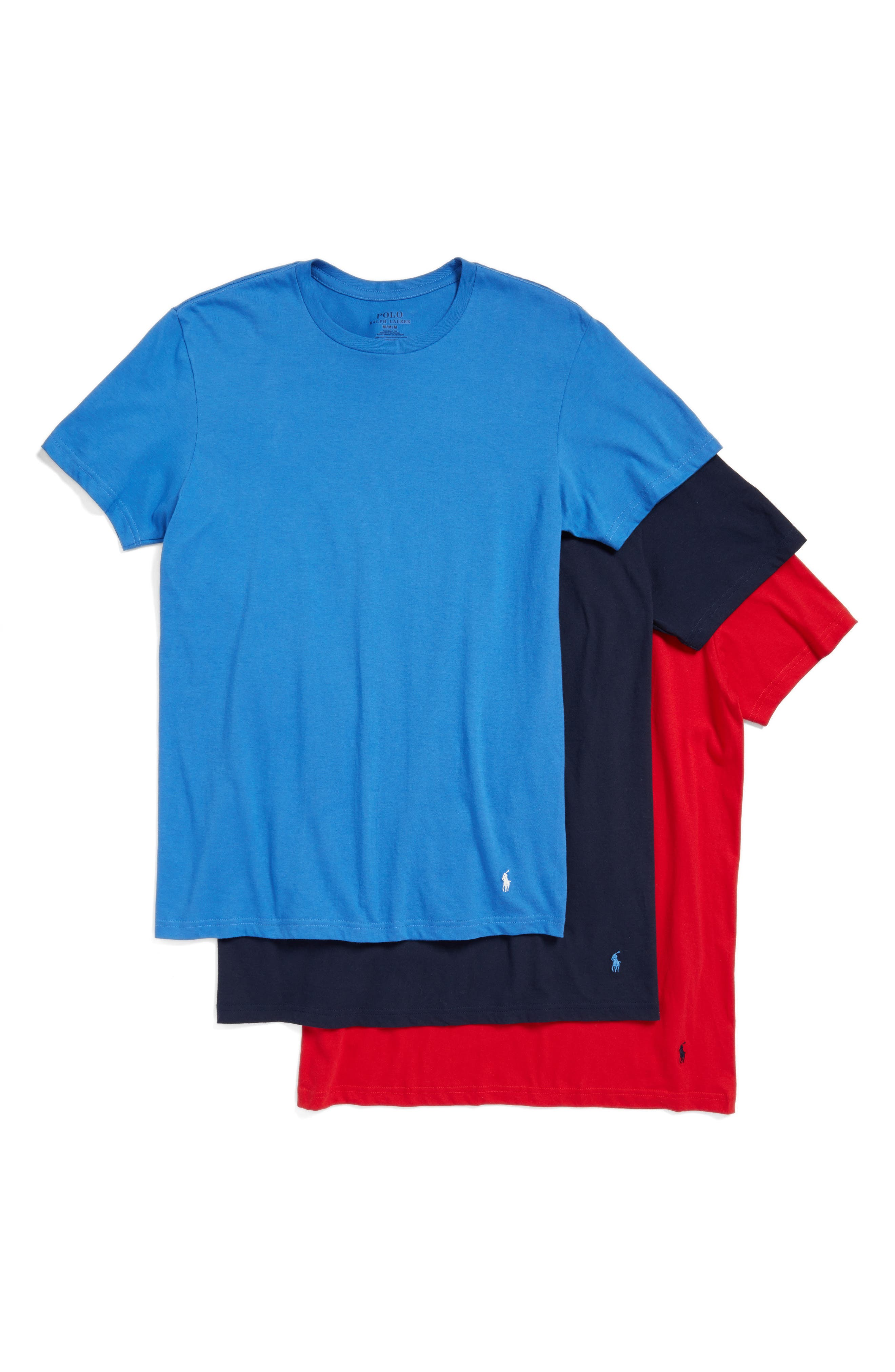3-Pack Crewneck T-Shirts,                         Main,                         color, Racer Blue/ Red/ Navy