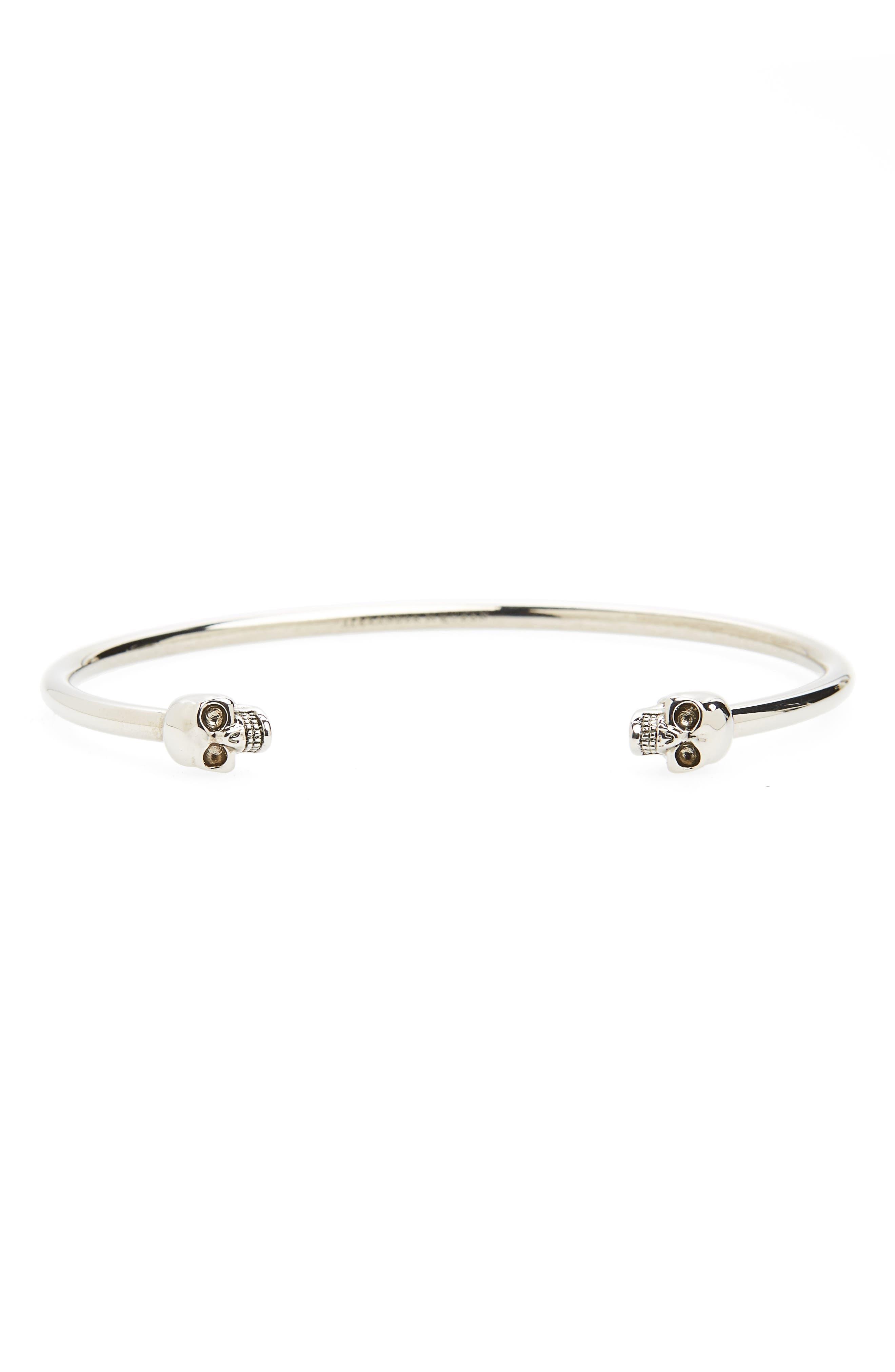 Twin Skull Cuff Bracelet,                         Main,                         color, Grey