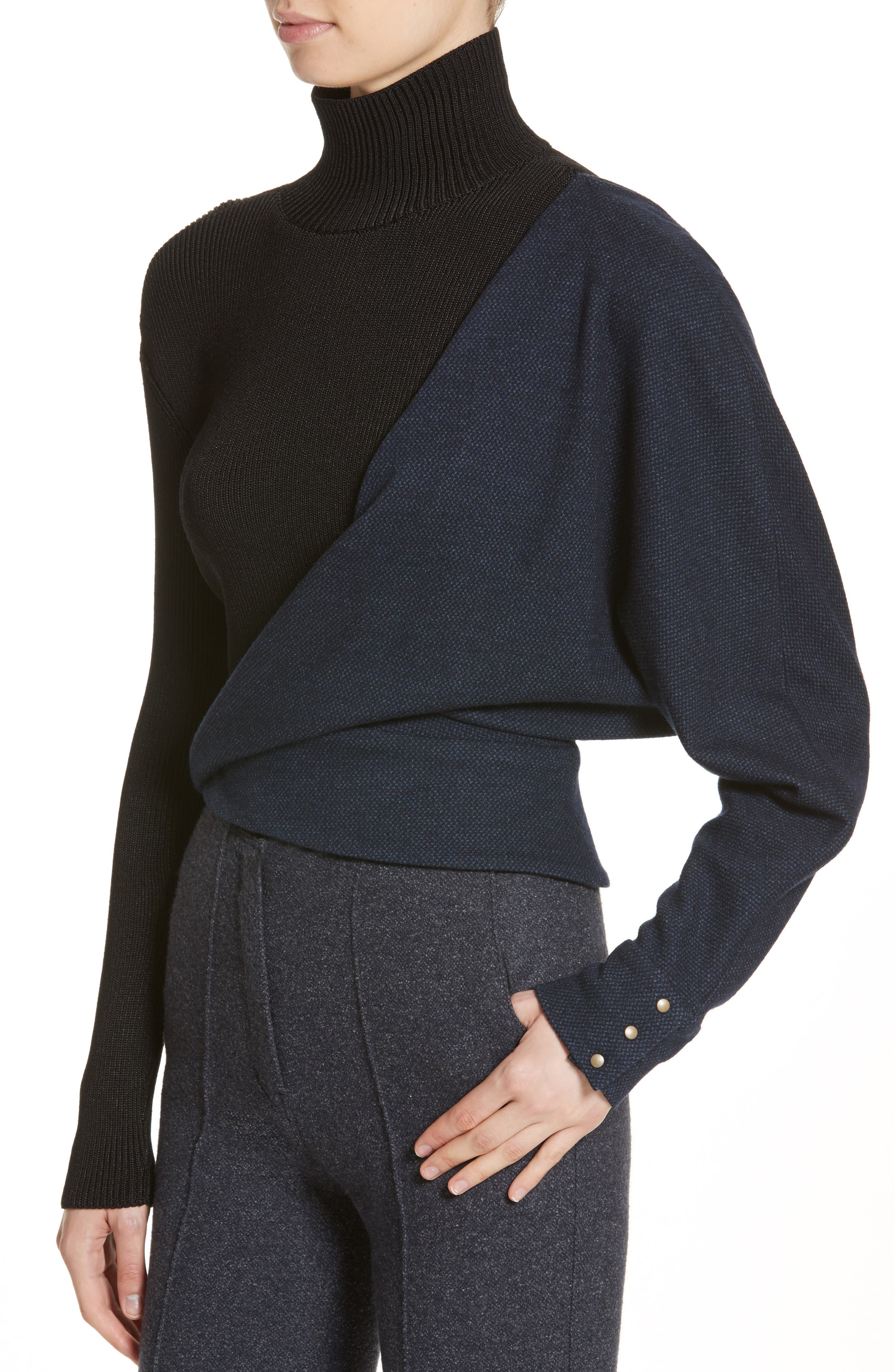 Tweed Jersey & Knit Turtleneck Sweater,                             Alternate thumbnail 4, color,                             Blue Black